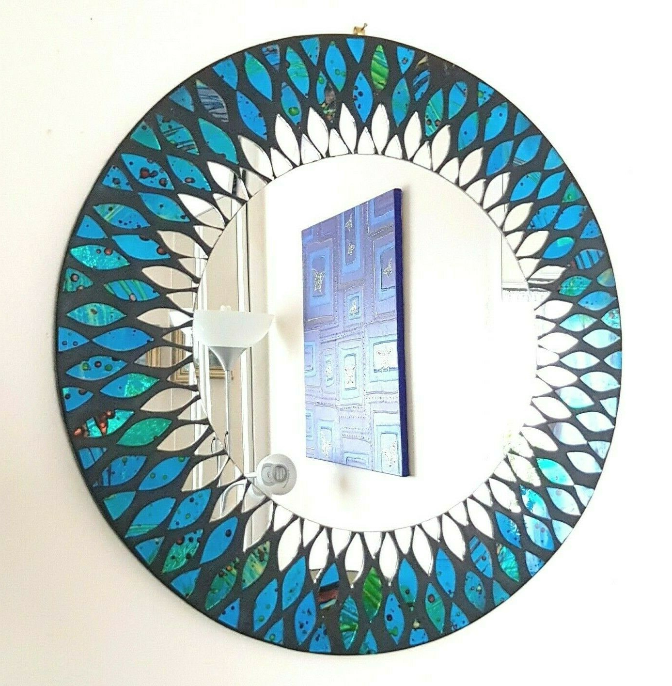 Unusual Large Wall Mirrors In Most Recent Round Blue & Green Peacock Design Mosaic Wall Mirror 40Cm Hand Made In  Bali New (View 15 of 20)