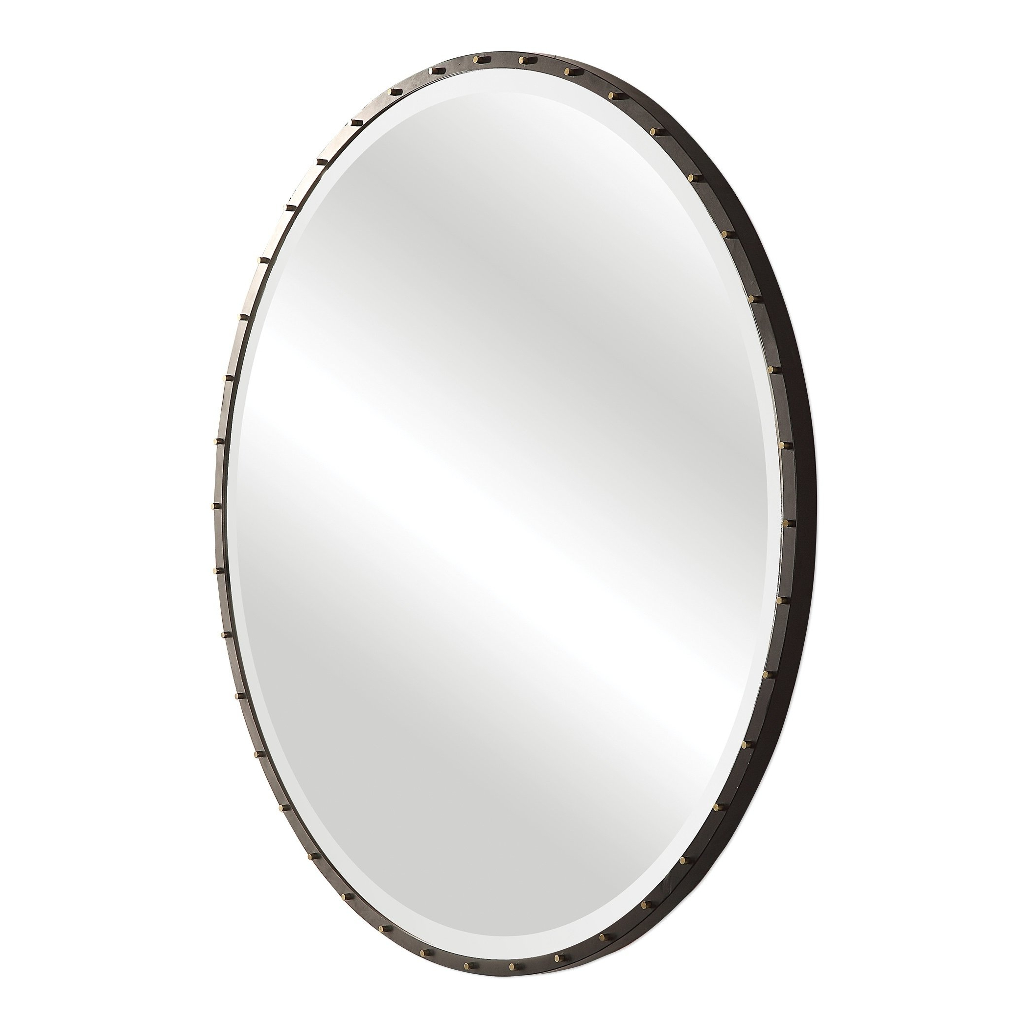 Uttermost Benedo Rustic Black Round Mirror – Antique Silver Throughout 2020 Yedinak Modern Distressed Accent Mirrors (View 18 of 20)