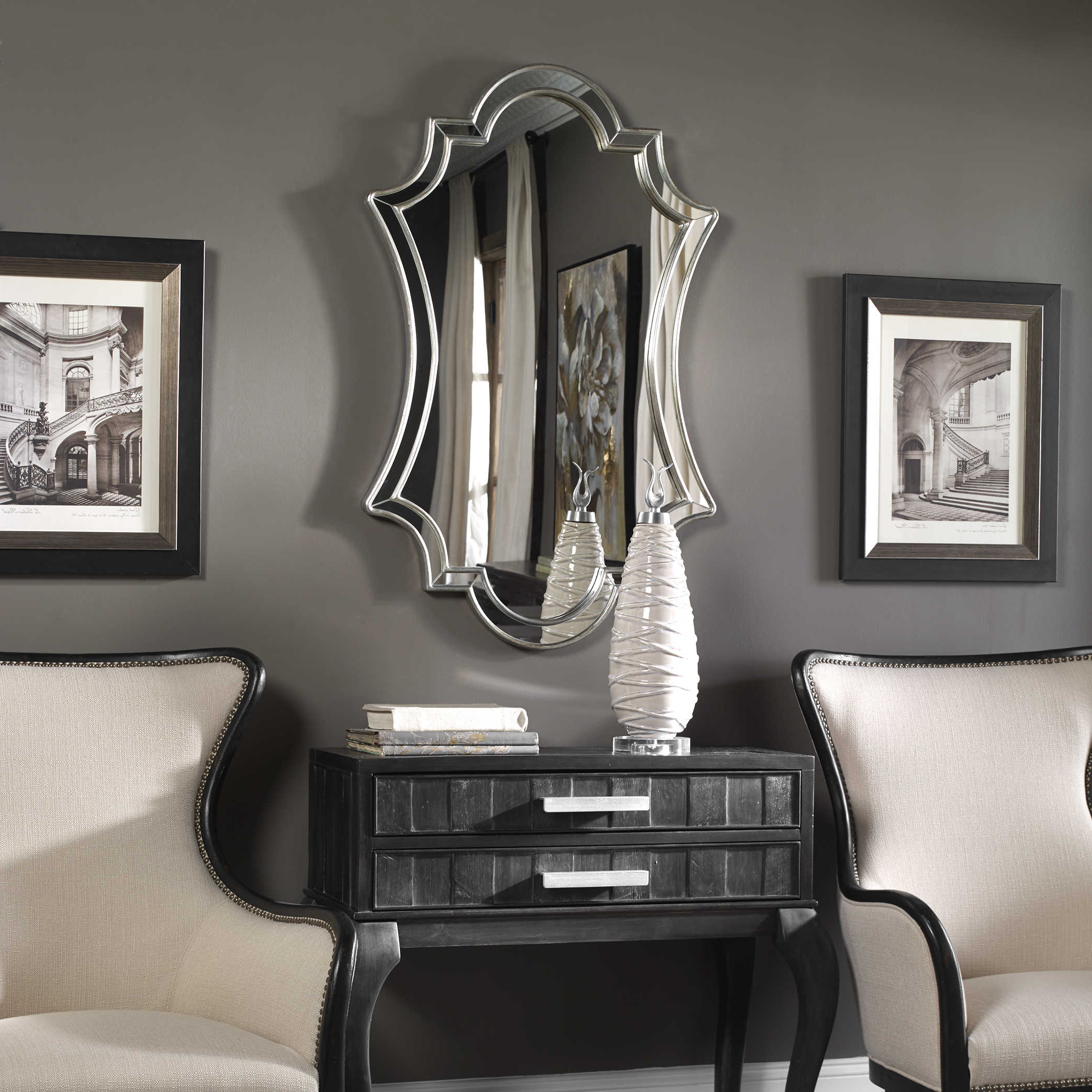 Uttermost Elara Antiqued Silver Wall Mirror Intended For Preferred Uttermost Wall Mirrors (View 10 of 20)