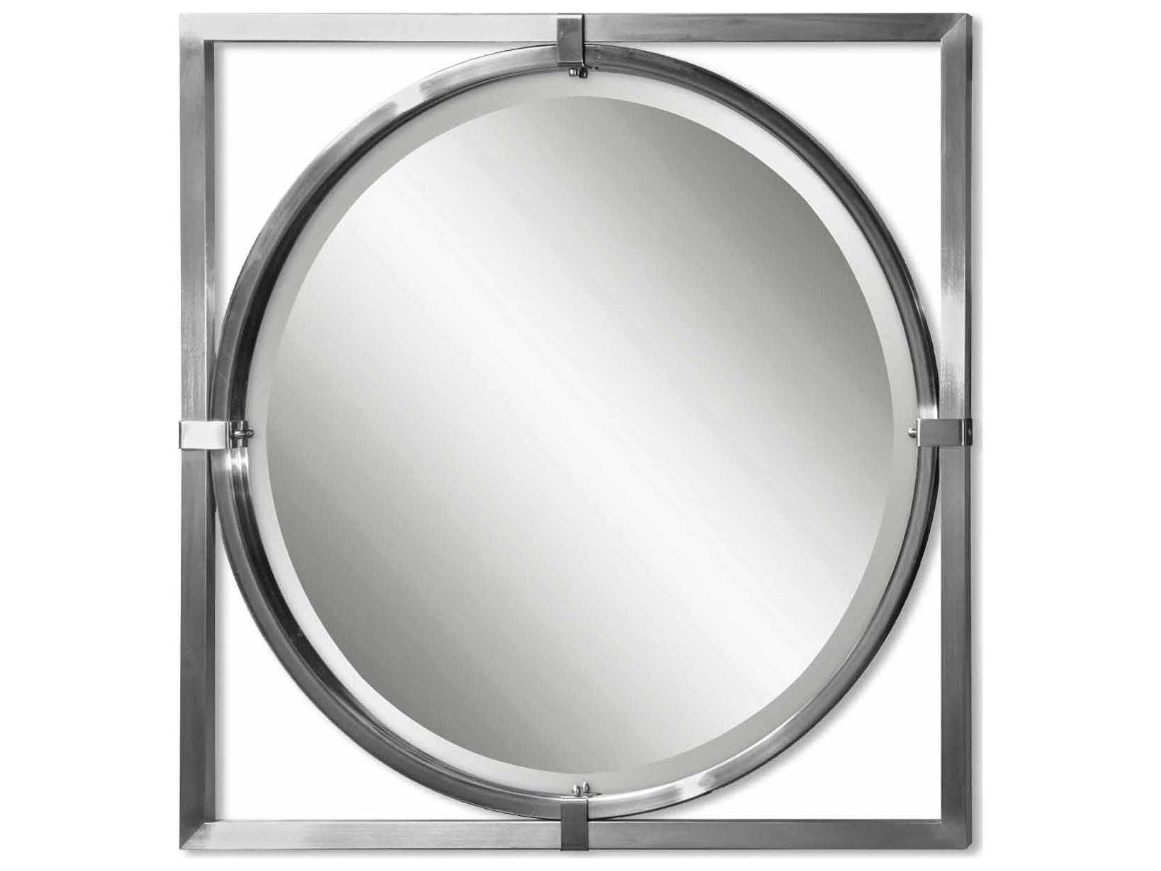 Uttermost Kagami 30 X 30 Brushed Nickel Wall Mirror Inside Well Liked Brushed Nickel Wall Mirrors (View 6 of 14)