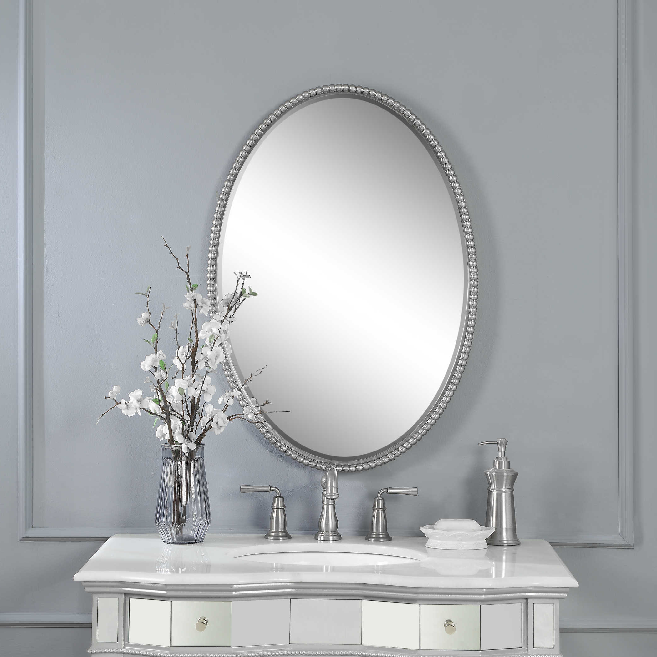 Uttermost Sherise Brushed Nickel Oval Mirror For Well Liked Brushed Nickel Wall Mirrors (View 14 of 14)