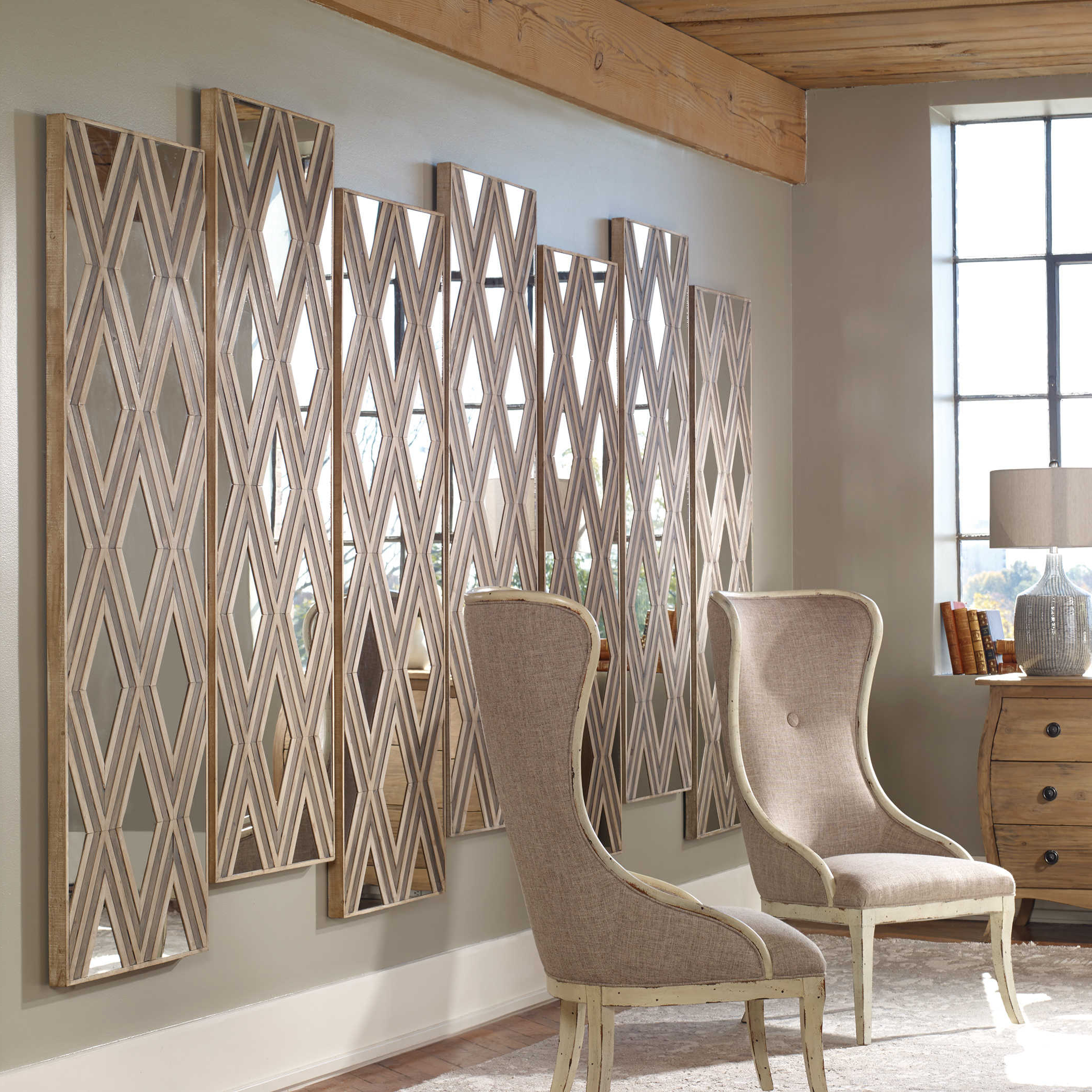 Uttermost Wall Mirrors Intended For Well Liked Uttermost Tahira Geometric Argyle Pattern Wall Mirror (Gallery 5 of 20)