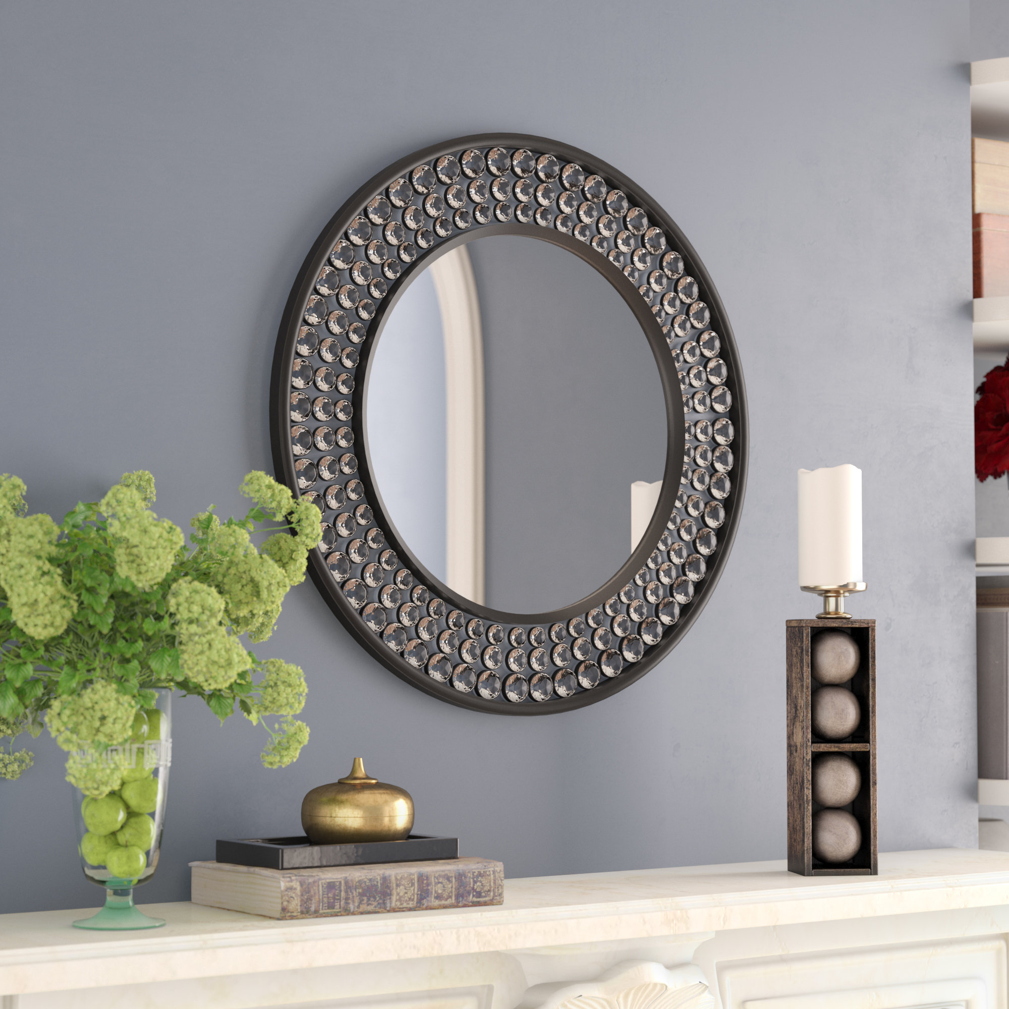 Valerian Jeweled Round Wall Mirror Pertaining To Fashionable Round Eclectic Accent Mirrors (View 15 of 20)