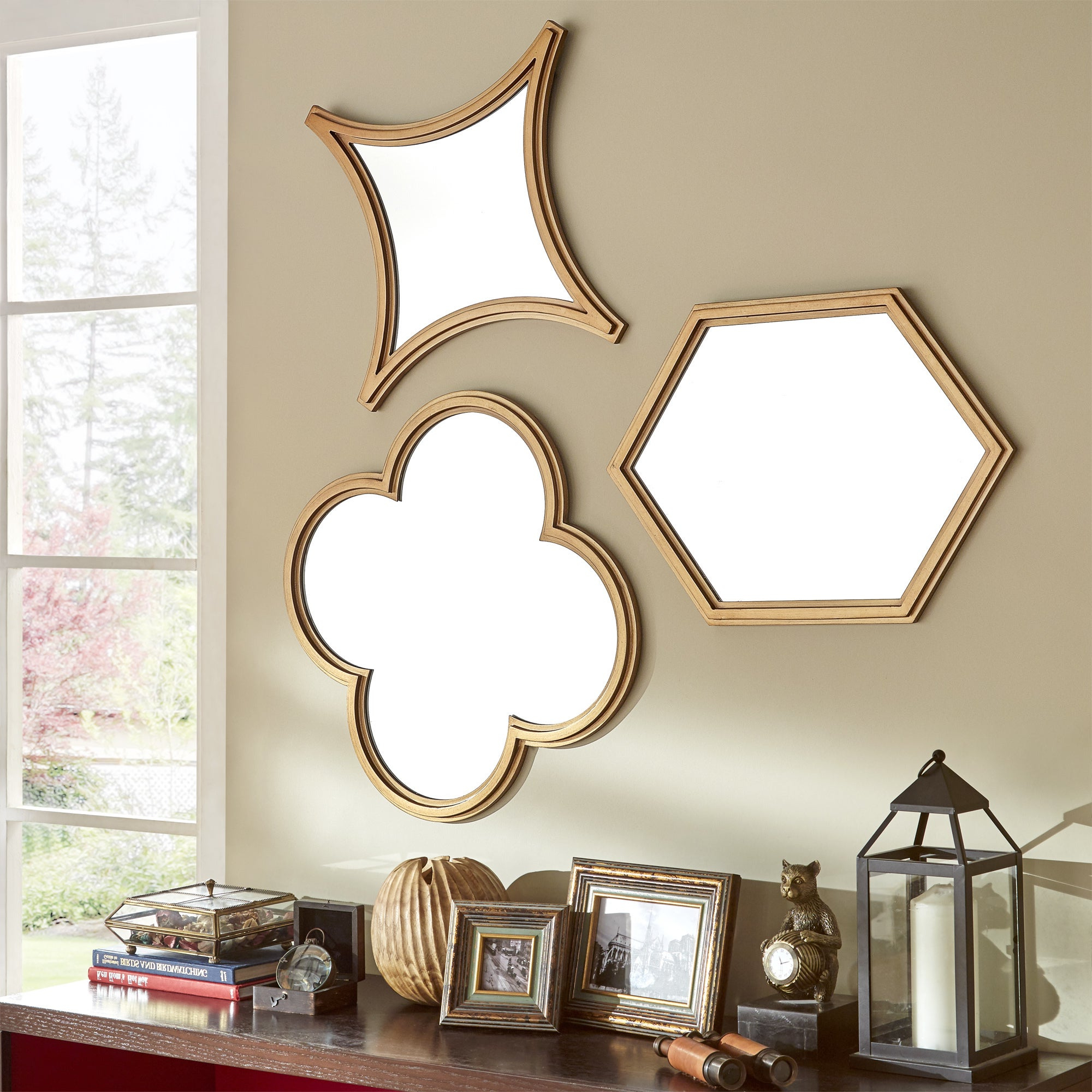 Vega Hexagon Flower Diamond Shape Wall Mirrors (set Of 3)inspire Q Bold – Gold For Most Up To Date Hexagon Wall Mirrors (View 14 of 20)