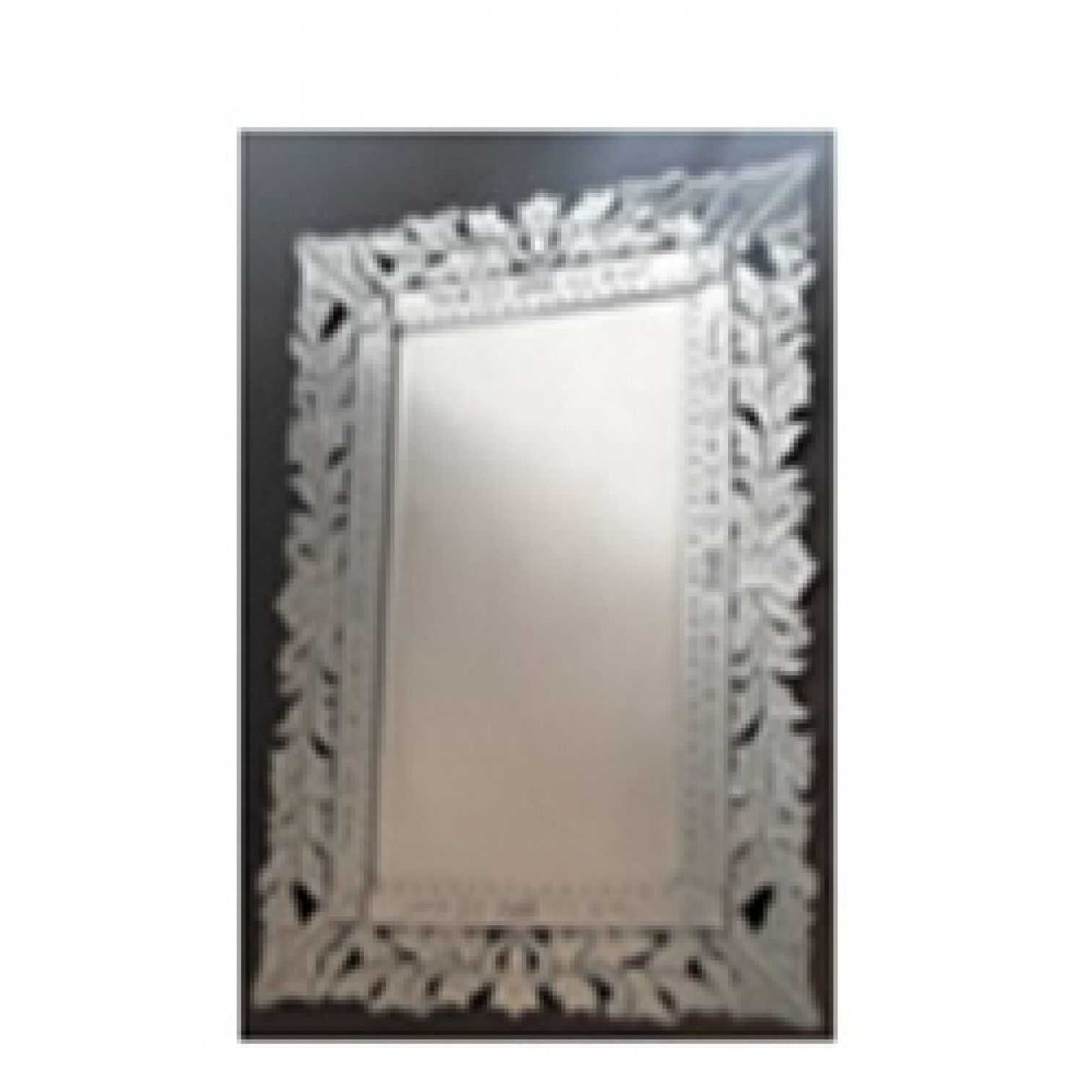 Venetian Modern Rectangular Mirror With Floral Mirrored Frame Throughout Famous Modern Rectangular Wall Mirrors (View 11 of 20)