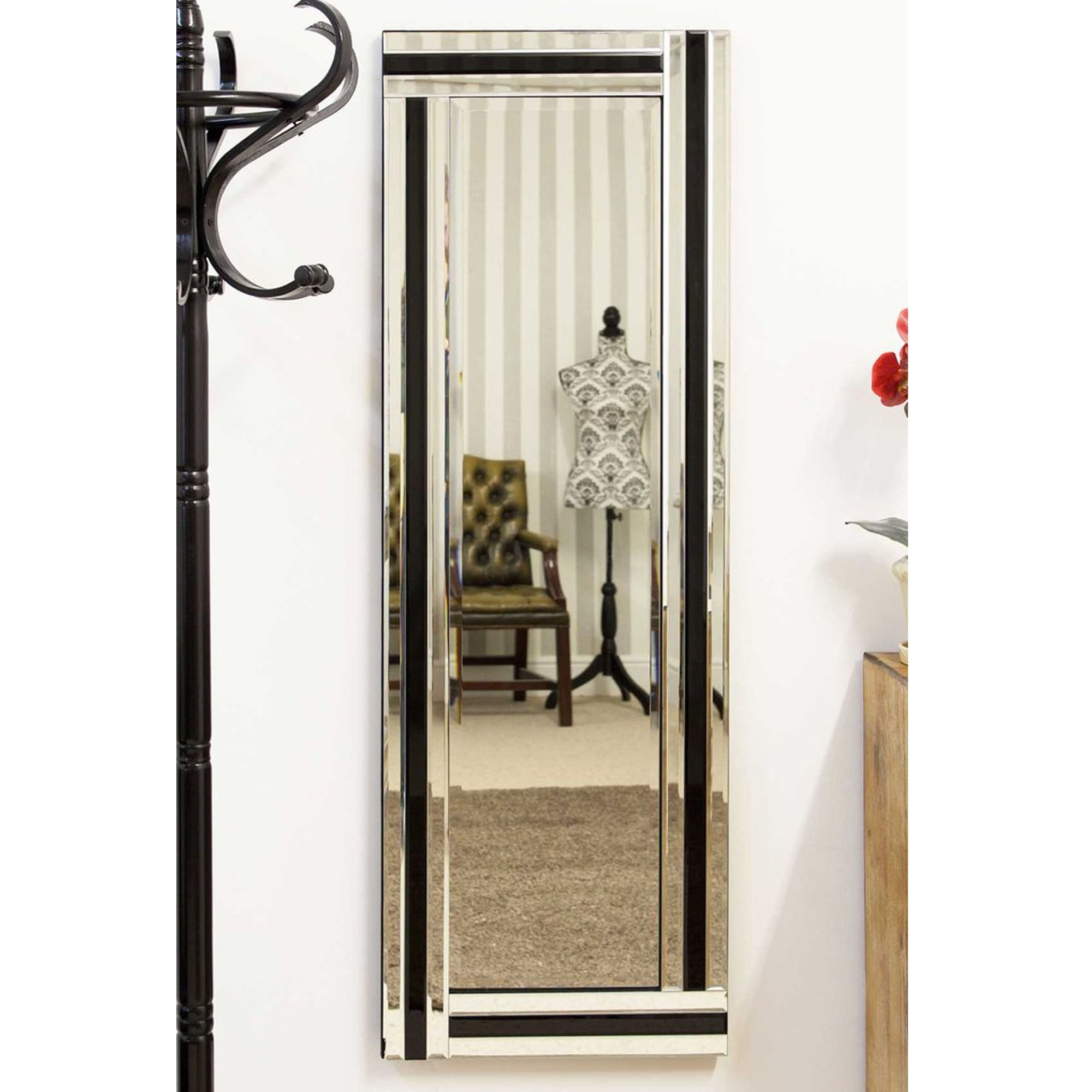 Venetian Thin Silver And Black Rectangular Wall Mirror Throughout Recent Thin Wall Mirrors (View 16 of 20)