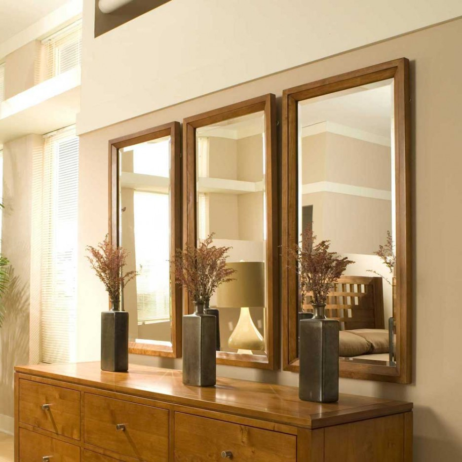 Vertical Wall Mirrors Inside Widely Used Vertical Rectangle Wooden Reclaimed Triple Wall Mirrors (View 5 of 20)