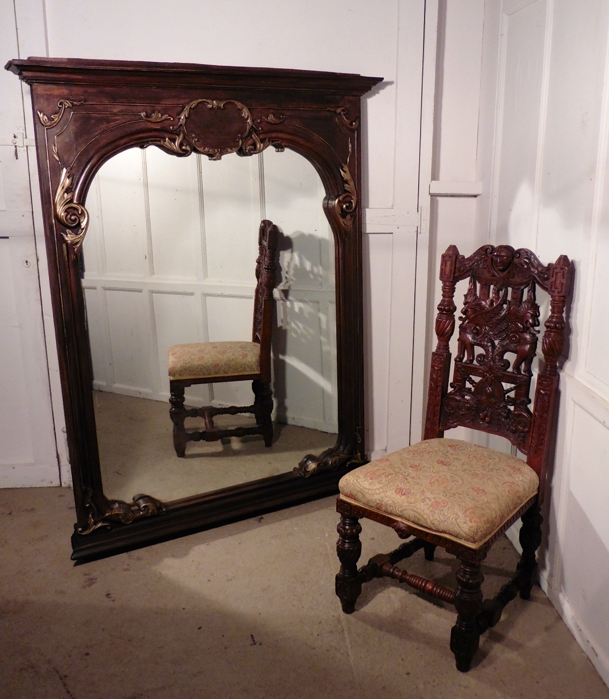 Very Large French Carved Oak Wall Mirror With Most Current Very Large Wall Mirrors (View 10 of 20)