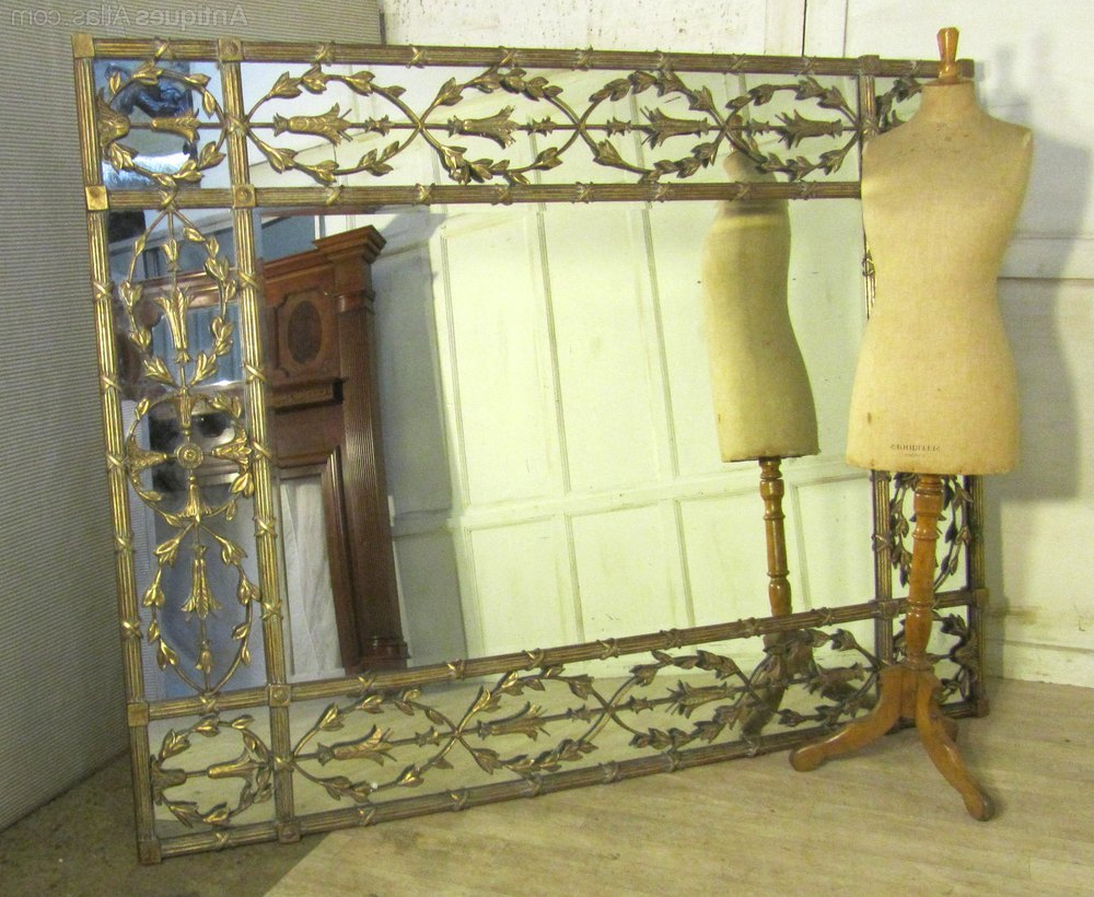 Very Large Wall Mirrors In Fashionable Antiques Atlas – A Very Large Gilt Brass Margin Wall Mirror (View 18 of 20)