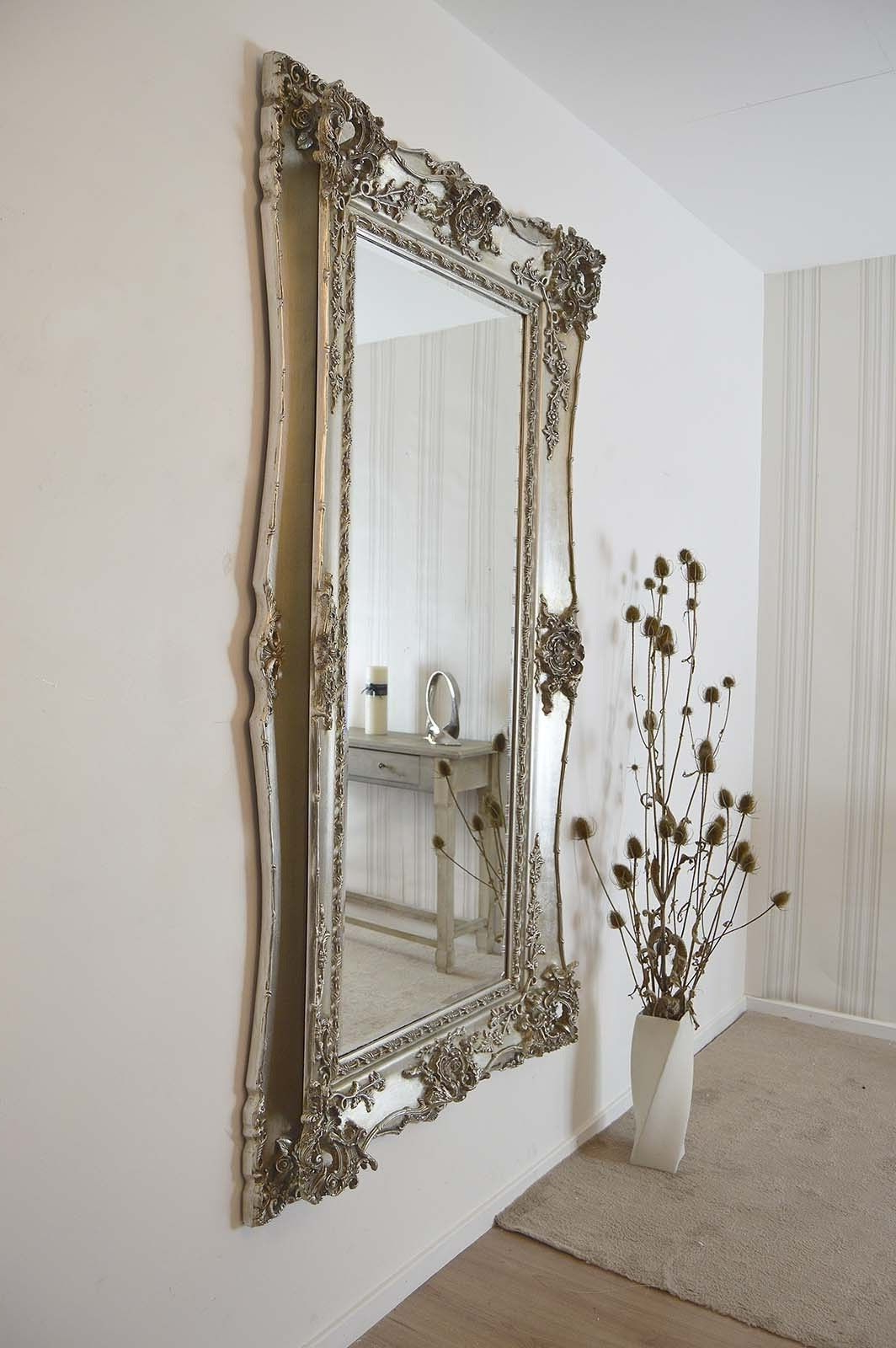 Very Large Wall Mirrors Throughout Best And Newest Extra Large Very Ornate Full Length Antique Silver Big Wall Mirror (View 6 of 20)