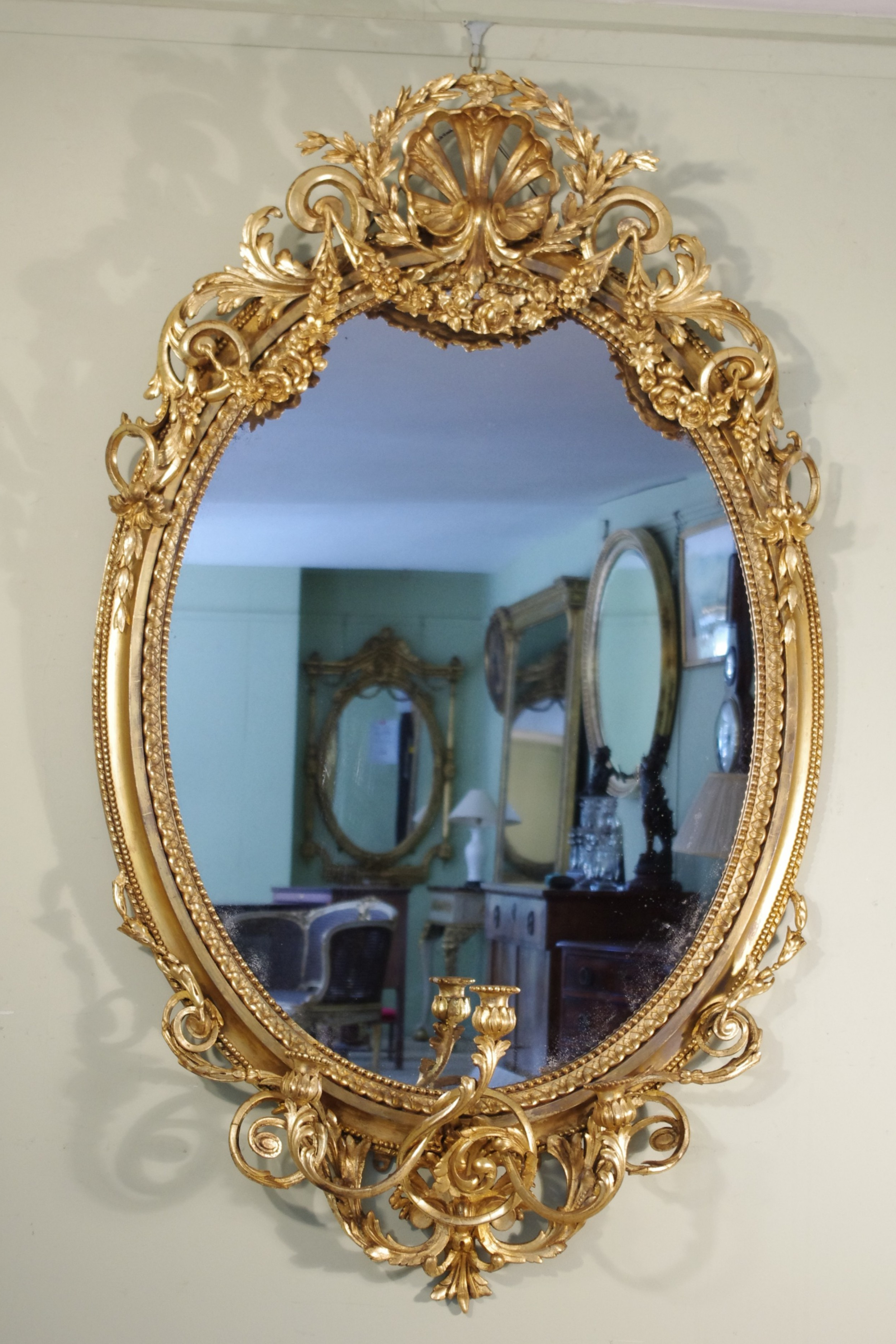 Victorian Wall Mirrors Regarding Most Recent English Victorian Gilt Large Oval Three Sconce Girandole/overmantle (View 8 of 20)