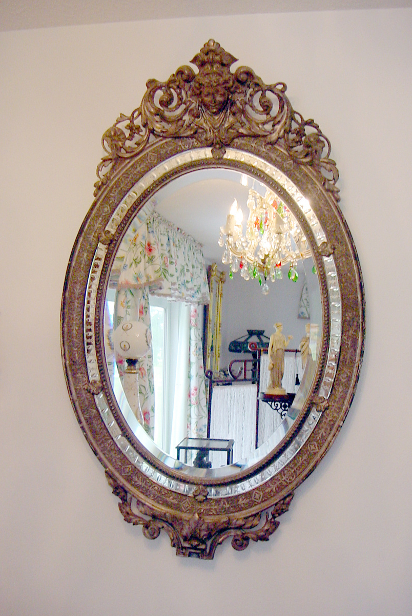 Victorian Wall Mirrors Throughout Best And Newest Antique Gilt Sterling Silver Oval Wall Mirror W Queen Cameo Hand (View 3 of 20)