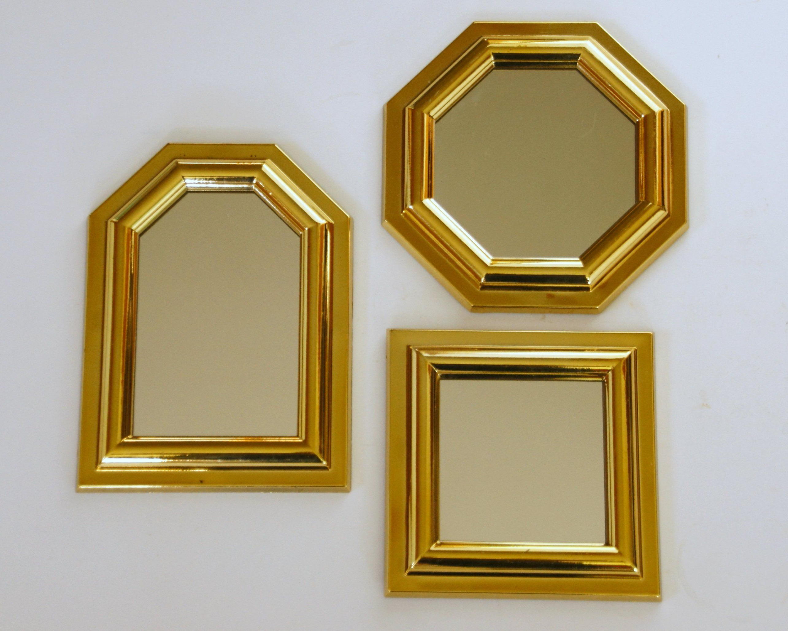 Vintage Mirror Set, Small Gold Mirrors, Burwood Wall Mirrors Throughout Fashionable Small Gold Wall Mirrors (Gallery 3 of 20)