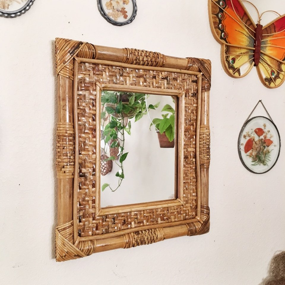 Vintage Rattan Bamboo Wall Mirror: Would Make A – Depop In Famous Bamboo Framed Wall Mirrors (View 19 of 20)