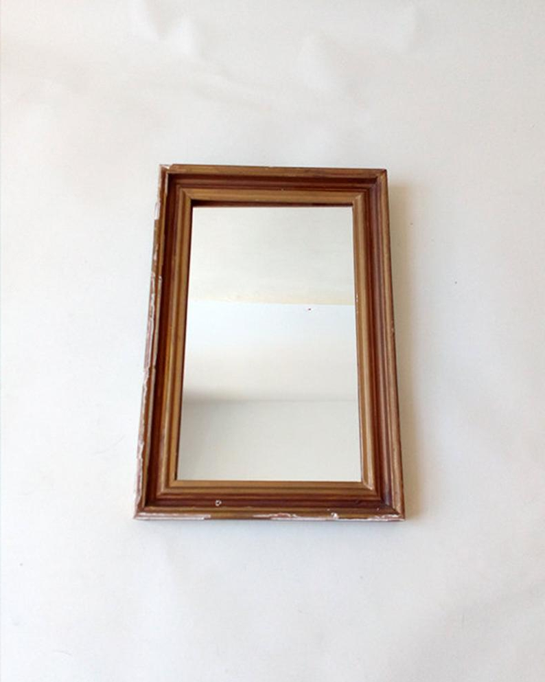 Vintage Wall Mirror In A Rectangular Golden Wood Frame. Vintage Wall Mirror With Gold Frame. Decorative Wall Mirror (View 18 of 20)