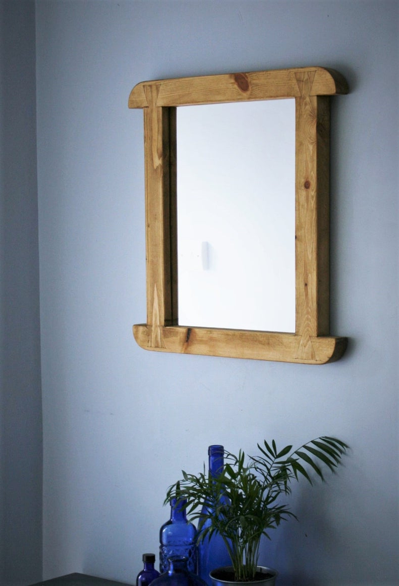 Wall Mirror, Curved Wooden Frame, Natural Eco Wood Mirror Frame, 50.5hx (View 4 of 20)