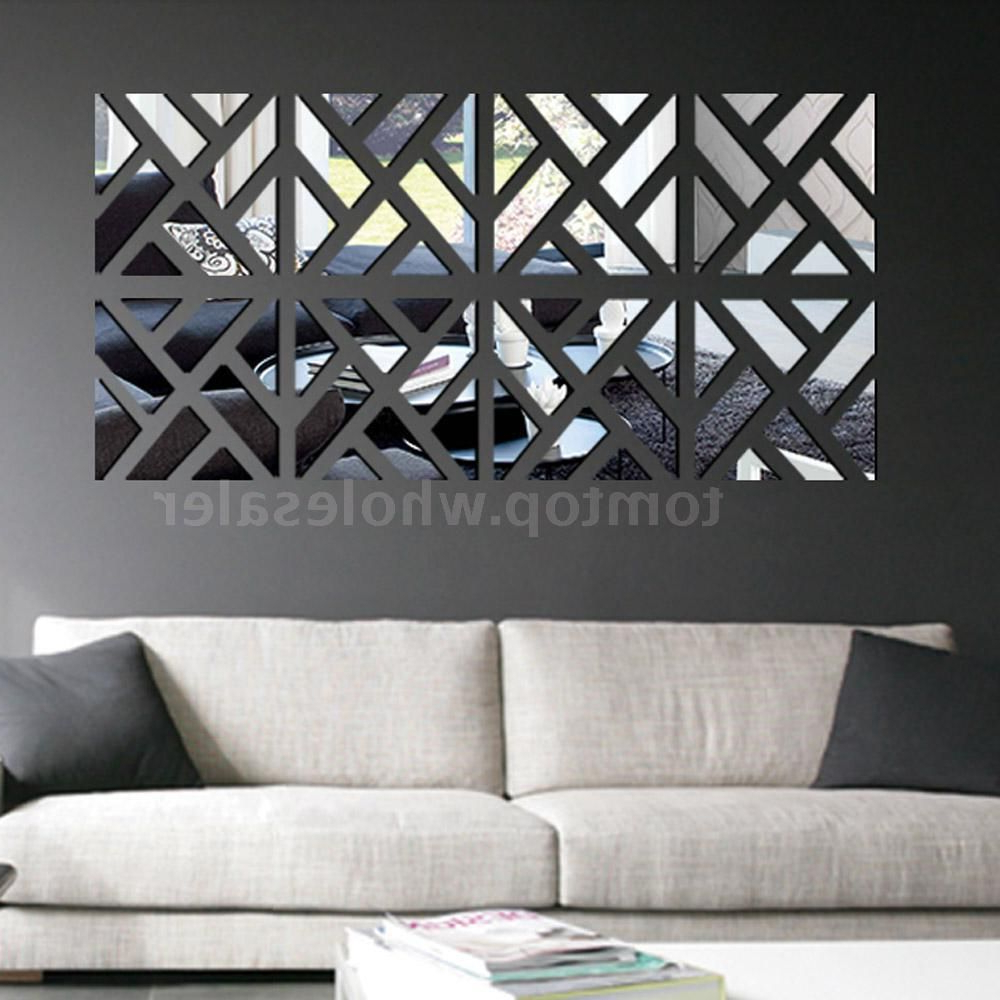 Wall Mirror Decals Regarding Favorite Geometric Removable Diy 3d Acrylic Mirror Wall Sticker Decal (View 7 of 20)