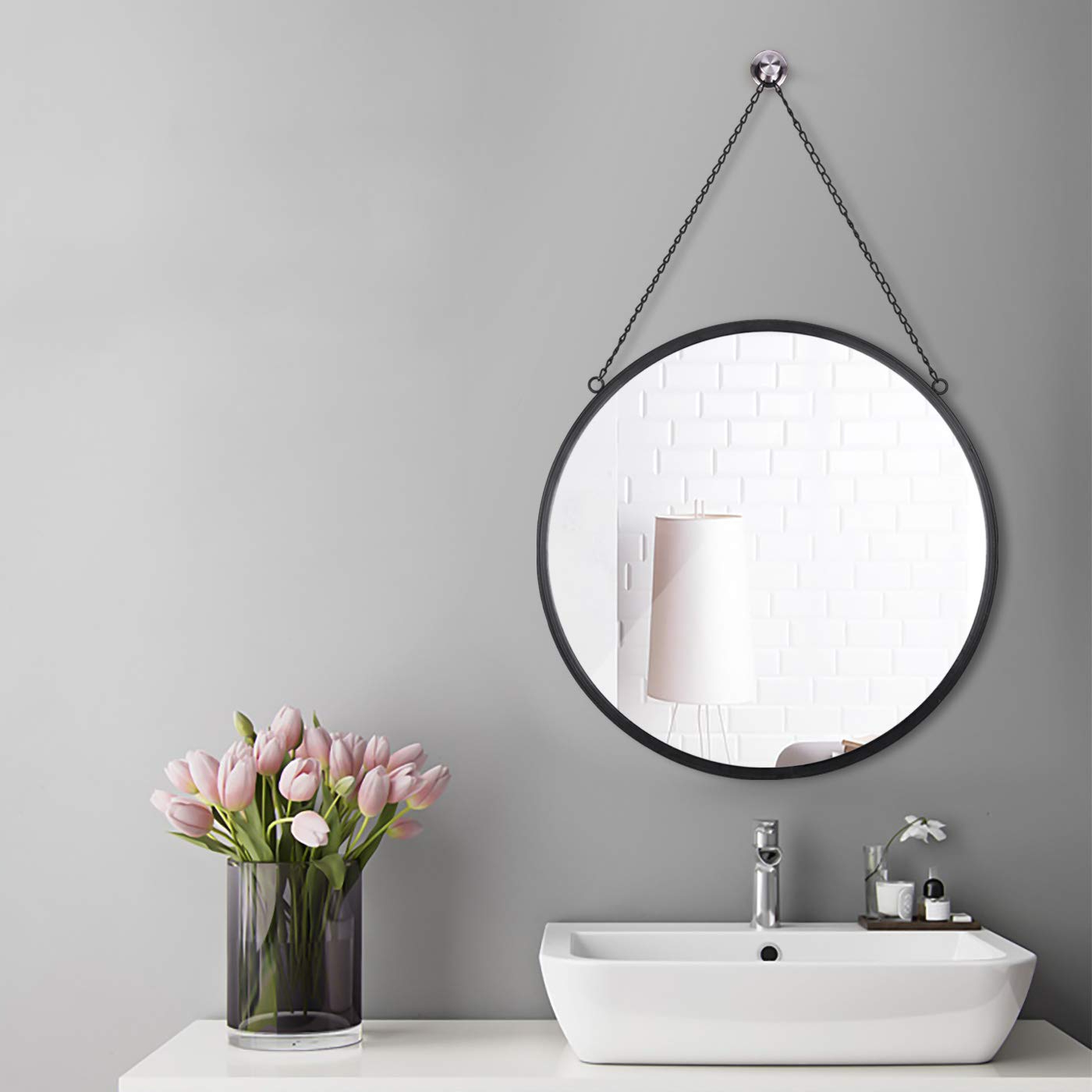 """Wall Mirror For Bathroom With Regard To Most Up To Date Plinrise Round Wall Mirror, Modern Metal Framed Mirror, Decorative Hanging Vanity Mirror For Bedroom, Bathroom And Living Room, Size 20"""", Black (View 18 of 20)"""