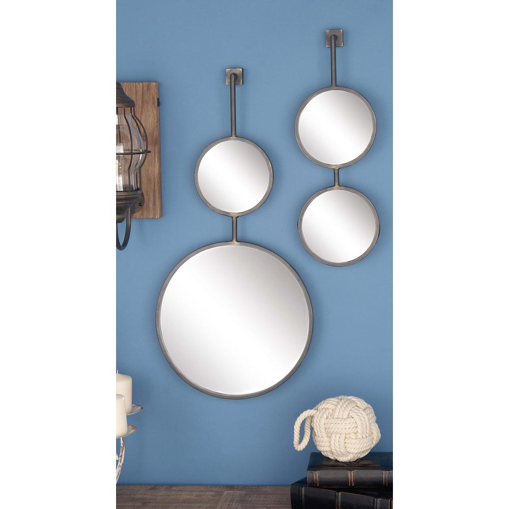 Wall Mirror Sets Of 4 Pertaining To Fashionable 4 Piece Modern Suspended Metal Wall Mirror Set (View 9 of 20)