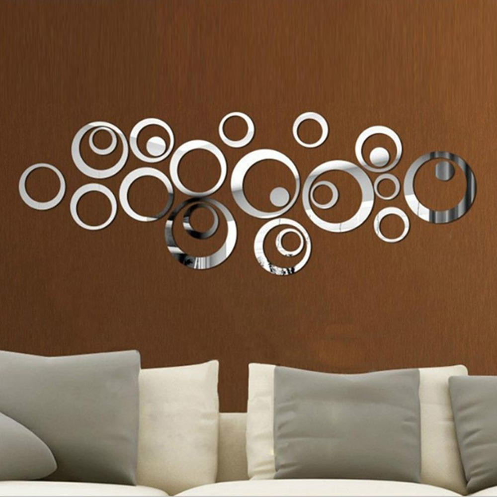 Wall Mirror Stickers With Widely Used Circles 3D Wall Mirror Stickers Vinyl Wall Sticker Diy Living Bedroom Sofa Tv Background Art Mural Home Decoration (View 3 of 20)
