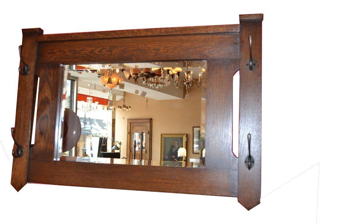 Wall Mirror With Coat Hooks Intended For Recent Crafters And Weavers Mission Oak Bevelled Glass Mirror With Coat (View 14 of 20)
