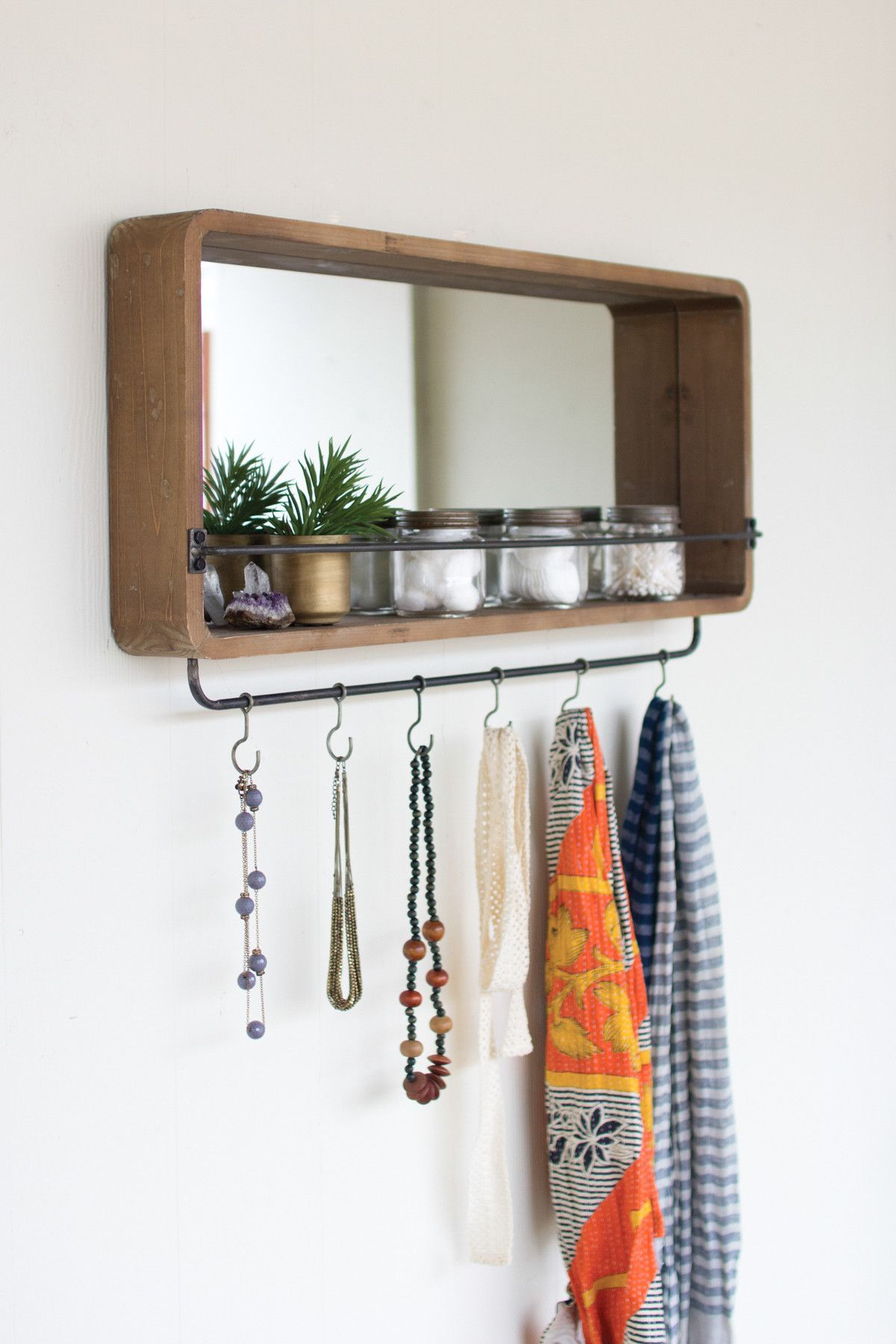 Wall Mirror With Coat Hooks With Regard To Favorite Wooden Mirror With Metal Coat Or Jewelry Hooks (View 16 of 20)