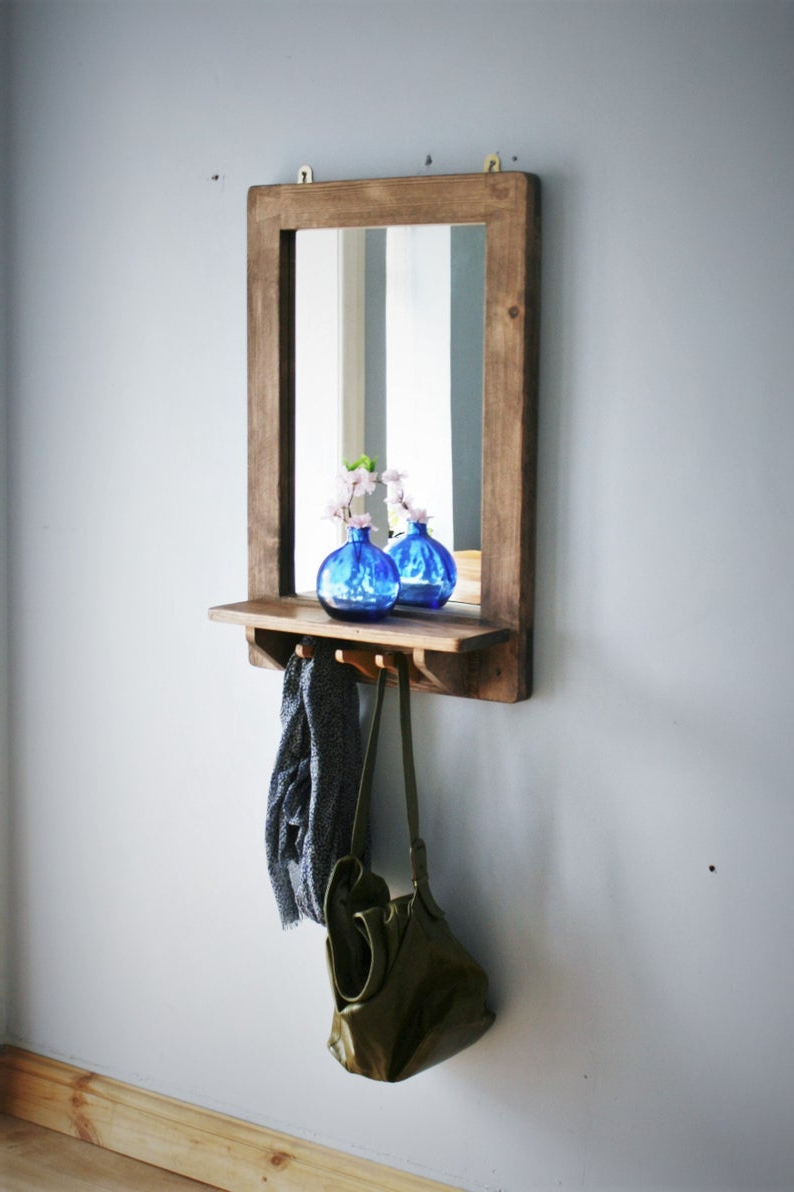 Wall Mirror With Coat Hooks Within Best And Newest Large Wall Mirror With Shelf & 3 Coat Hooks, Eco Wood Frame, Dark Wood  Mirror, Hall Mirror, Custom Handmade Modern Rustic Style Somerset Uk (View 18 of 20)
