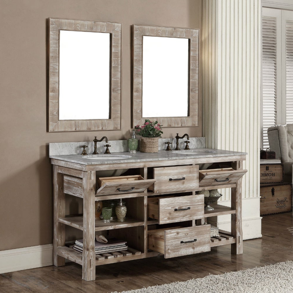 Wall Mirrors For Bathroom Vanities Inside Well Liked Rustic Style 60 Inch Double Sink Bathroom Vanity And Matching Wall Mirrors (View 15 of 20)
