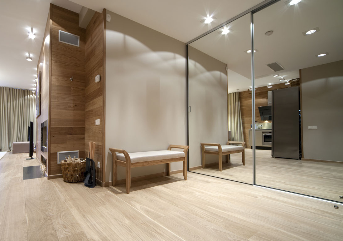 Wall Mirrors For Hallway Pertaining To Current Residential Hallway With Wood Floors And Wall Mirrors – North (View 4 of 20)