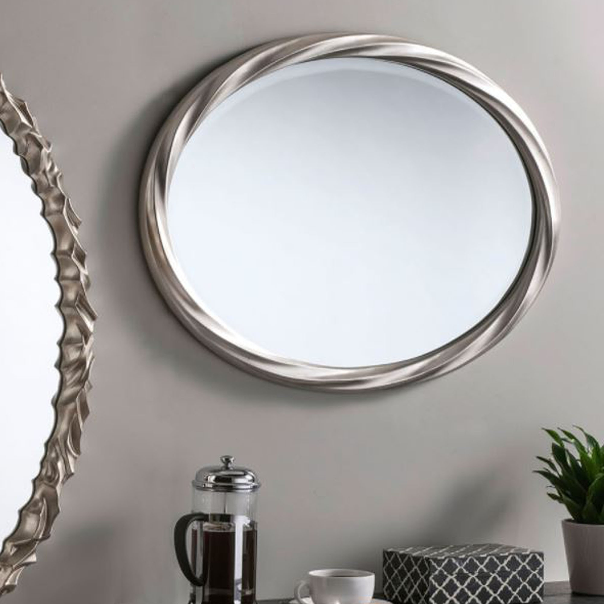 Wall Mirrors For Trendy Swirl Silver Oval Wall Mirror (View 13 of 20)