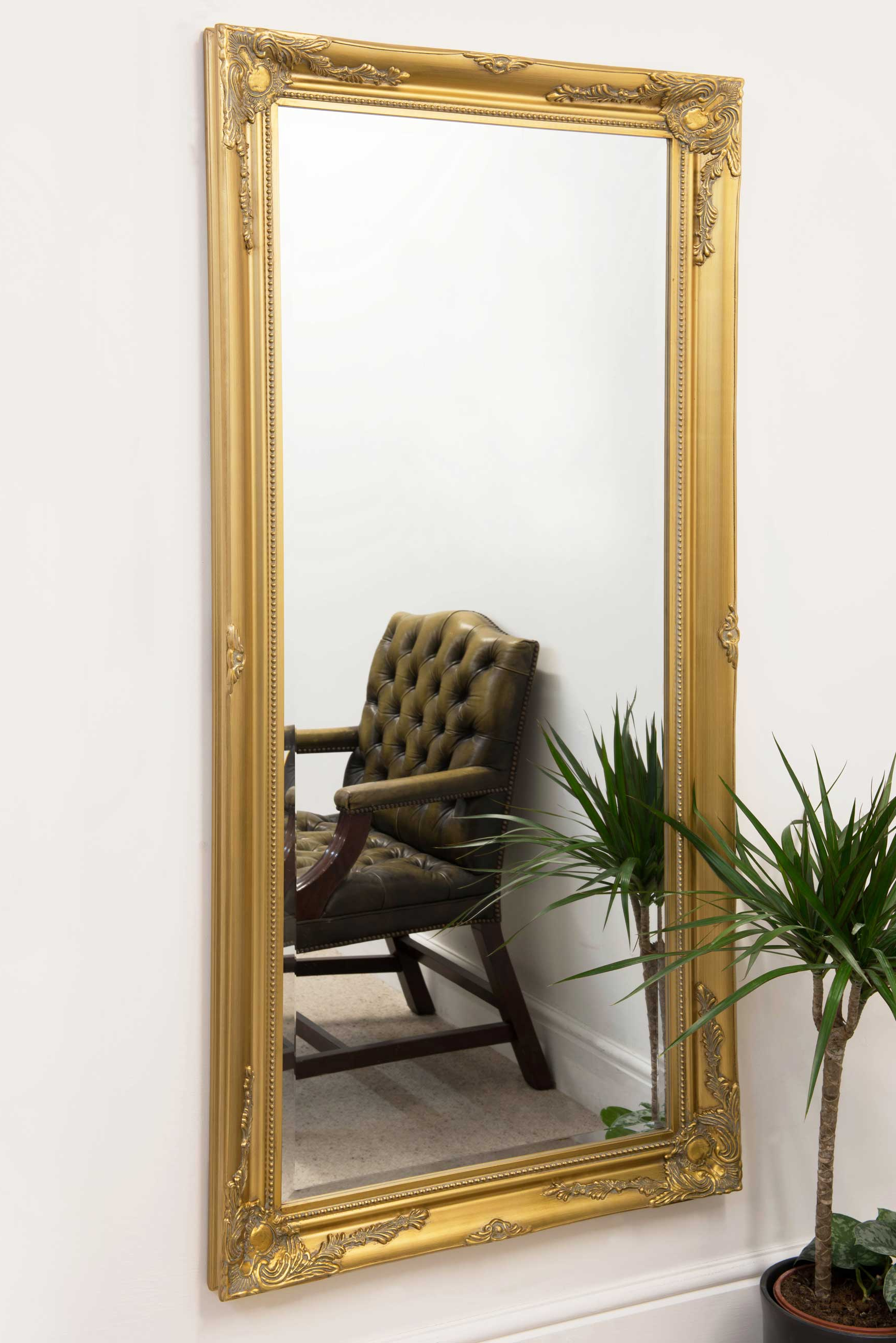 Wall Mirrors Full Length Within Popular Monksilver Gold Vintage Ornate Full Length Dress Floor Leaner Wall Mirror  170X79 Cm (View 18 of 20)