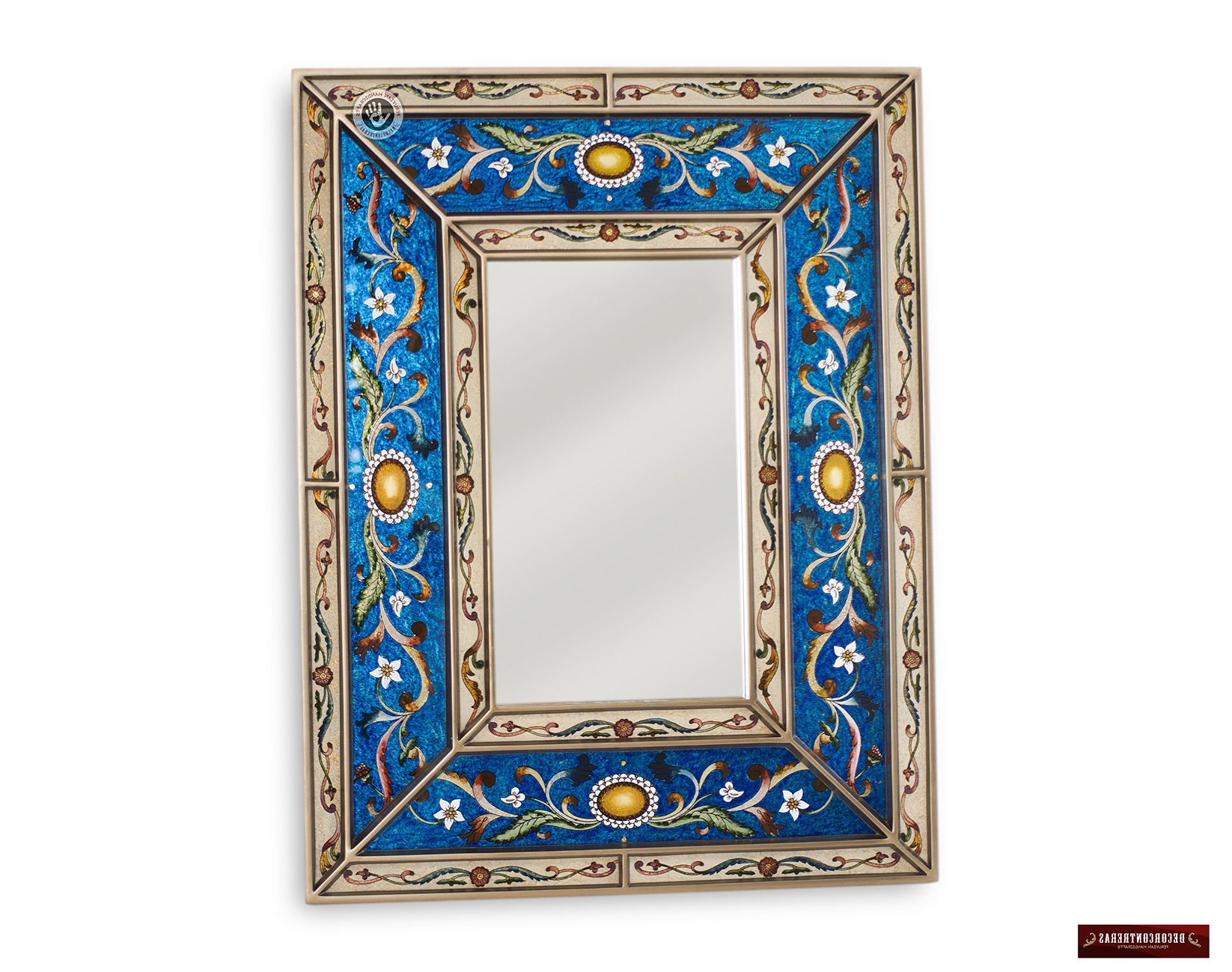 Wall Mirrors With Art In Most Recent Peruvian Blue Decorative Mirror – Arts Crafts Mirror Wall Vanity Mirror Hand Painted Glass Wood Rectangular Wall Mirror – Wall Mirrors (View 18 of 20)