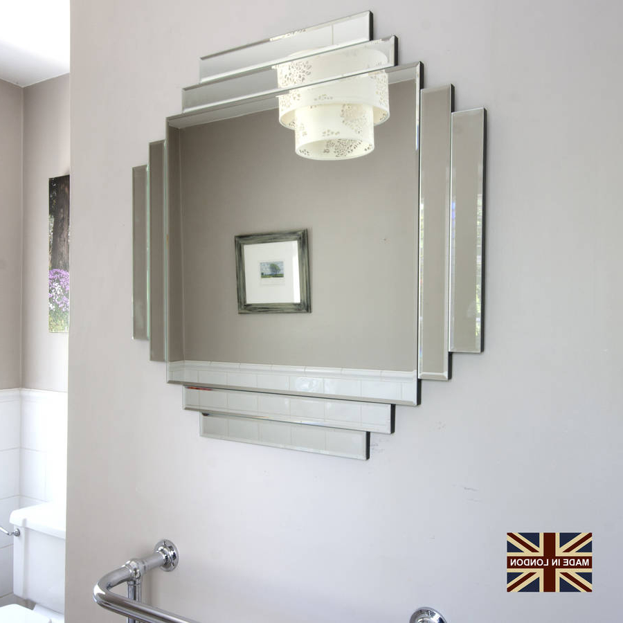 Wall Mirrors With Art In Most Up To Date Uk Made Art Deco Glass Mirror (View 12 of 20)
