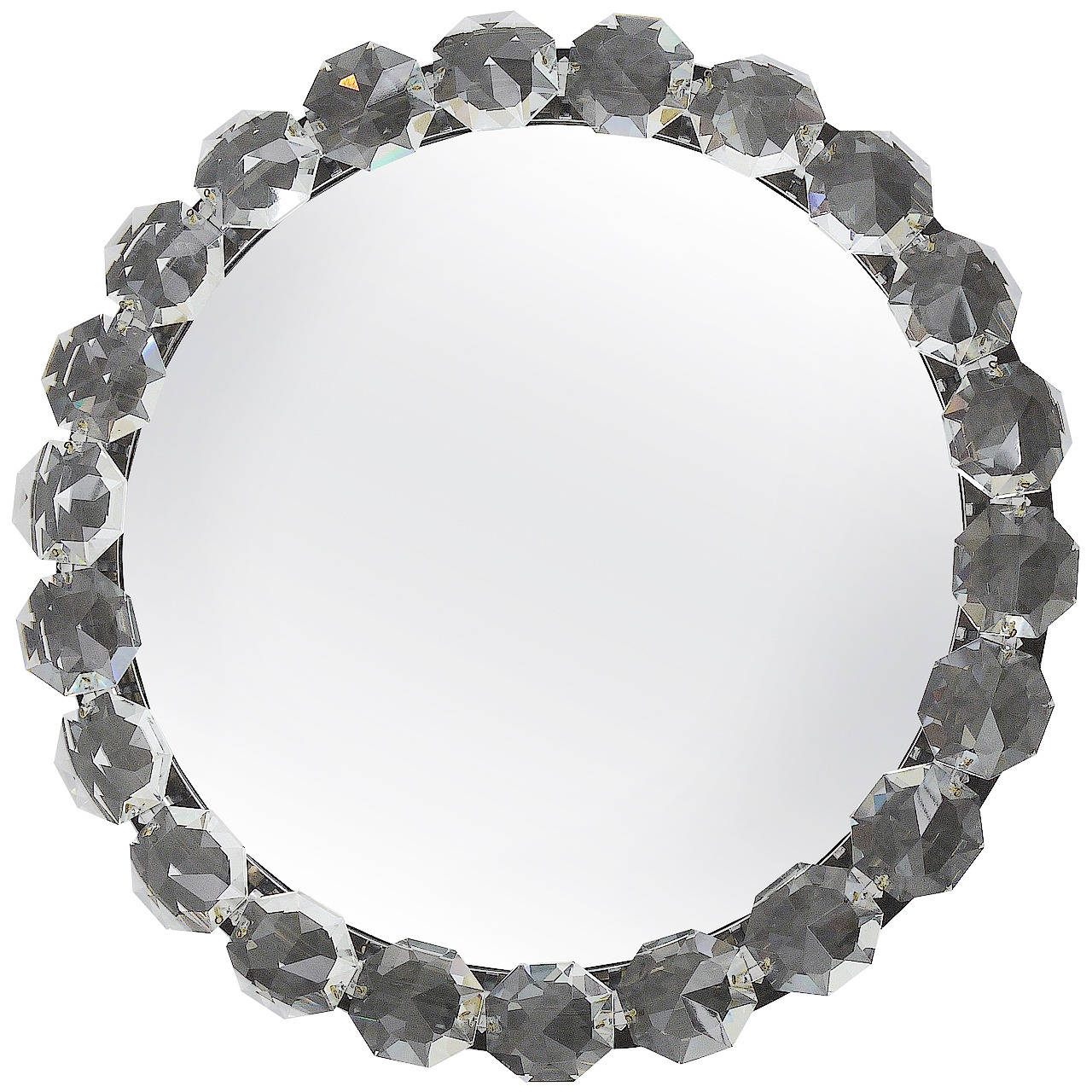 Wall Mirrors With Crystals With Regard To Recent Bakalowits Vienna Round Backlit Wall Mirror With Huge Crystals, Two Available (View 19 of 20)