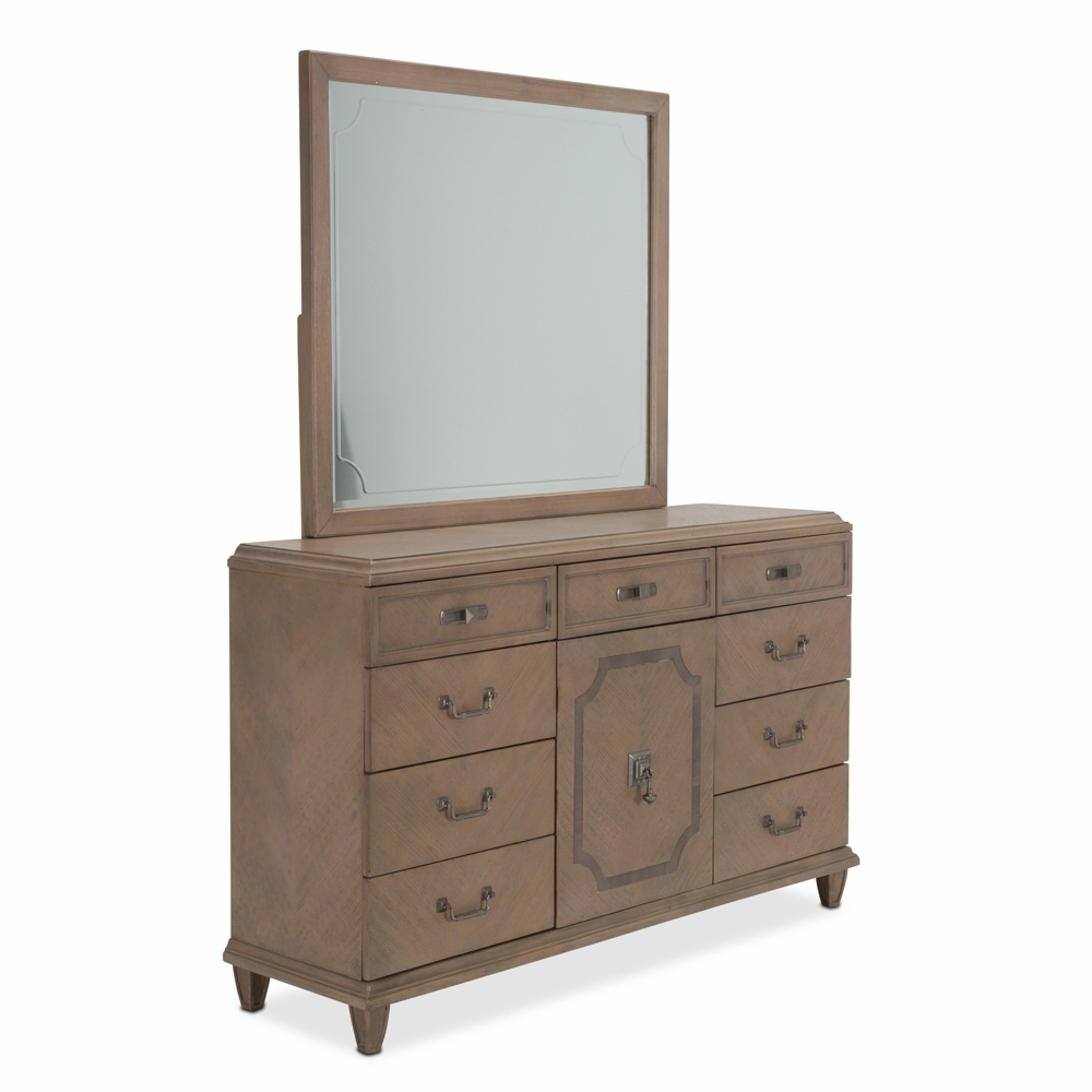 Wall Mirrors With Drawers In 2019 Aicomichael Amini – Tangier Coast 9 Drawer Dresser And Wall Mirror In  Desert Sand (View 18 of 20)