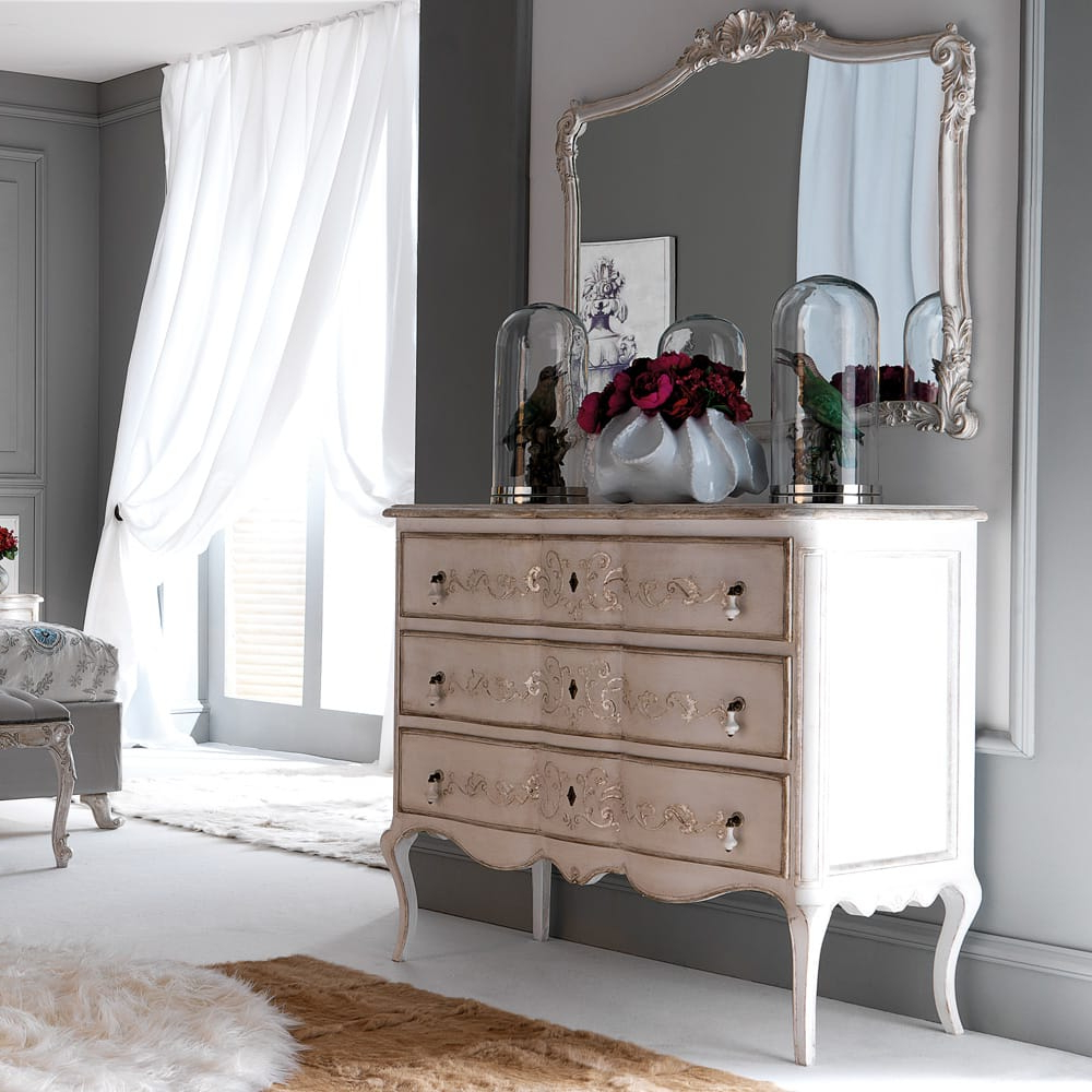 Wall Mirrors With Drawers In Most Recently Released Ornate Silver Designer Italian Wall Mirror (View 9 of 20)