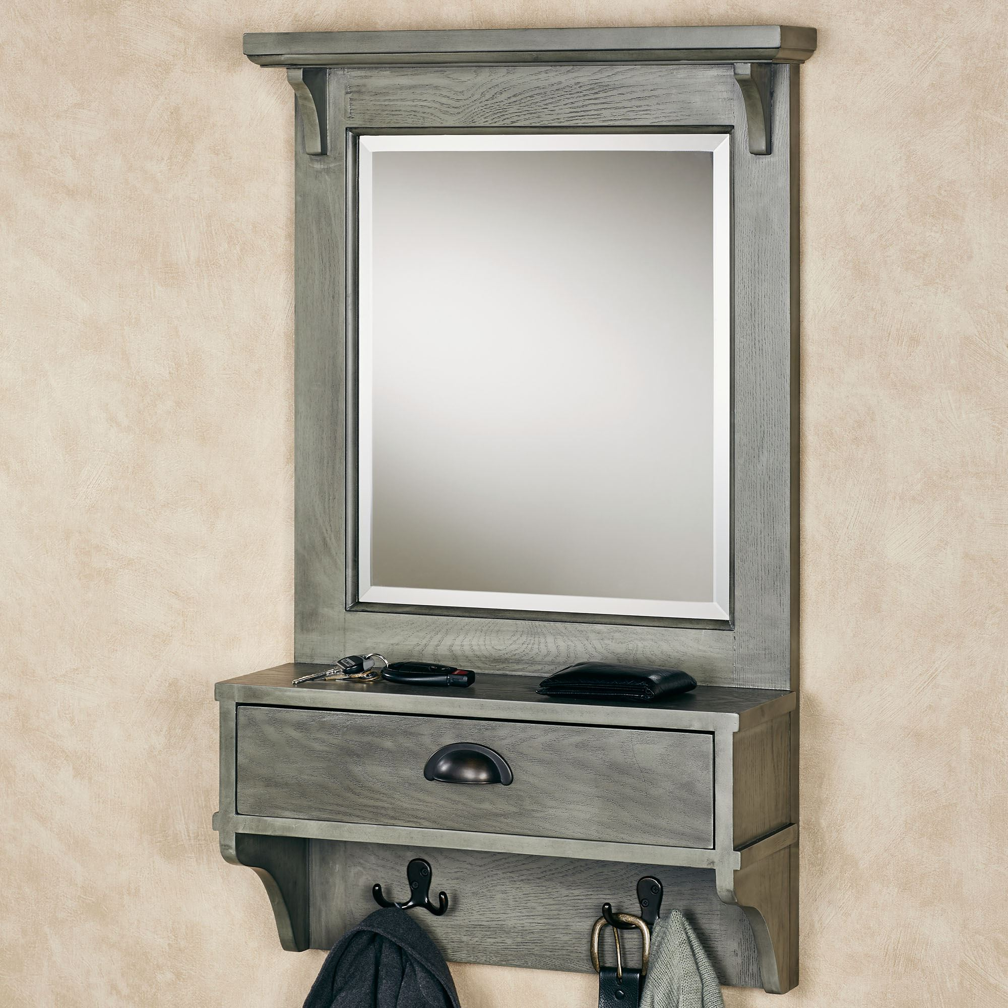 Wall Mirrors With Hooks And Shelf In Well Known Karter Gray Mirrored Wall Shelf With Drawer And Hooks (View 11 of 20)