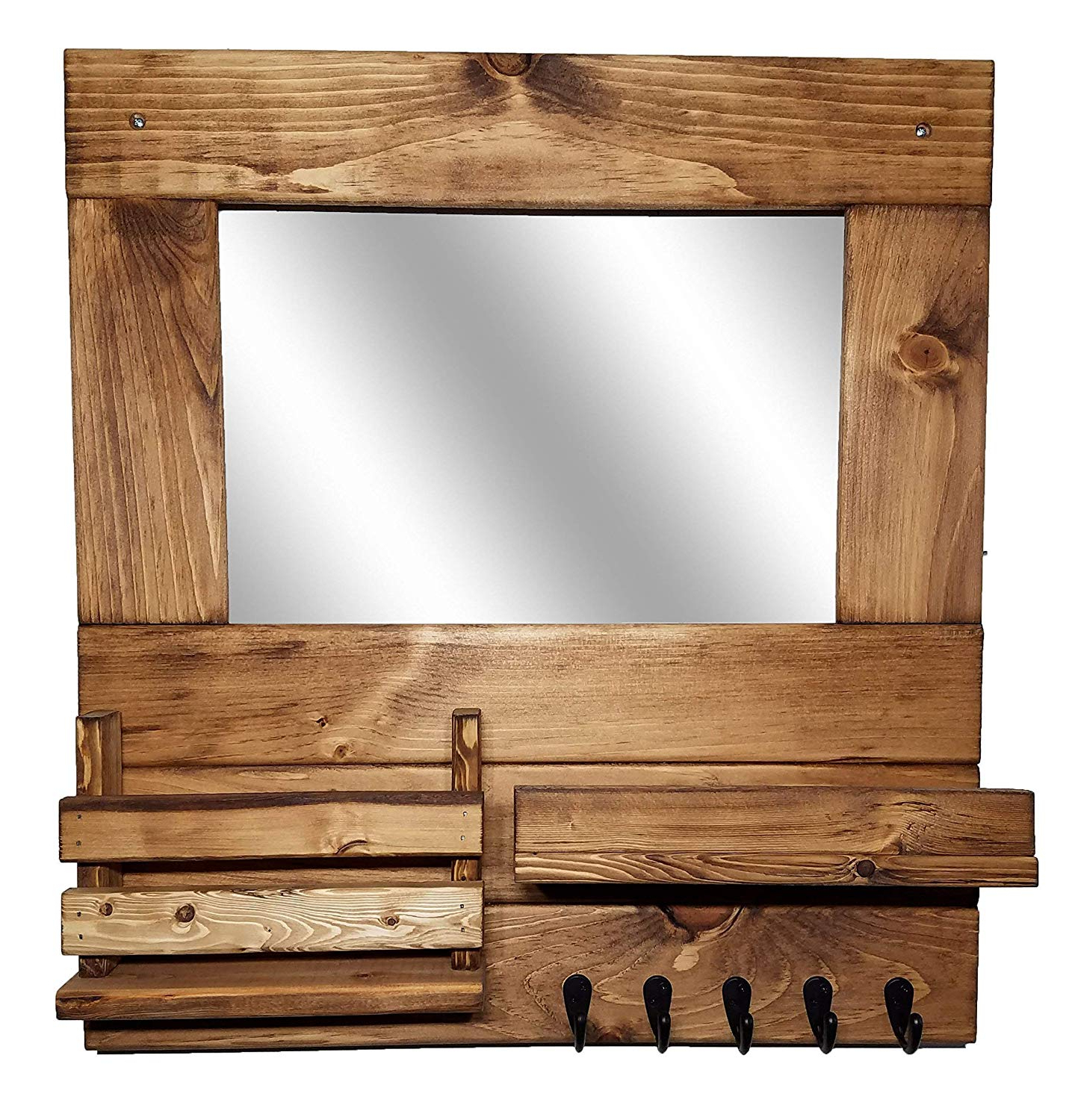 Wall Mirrors With Hooks And Shelf With 2020 Amazon: Farmhouse Entryway Rustic Mirror Wall Mount Wall (View 7 of 20)