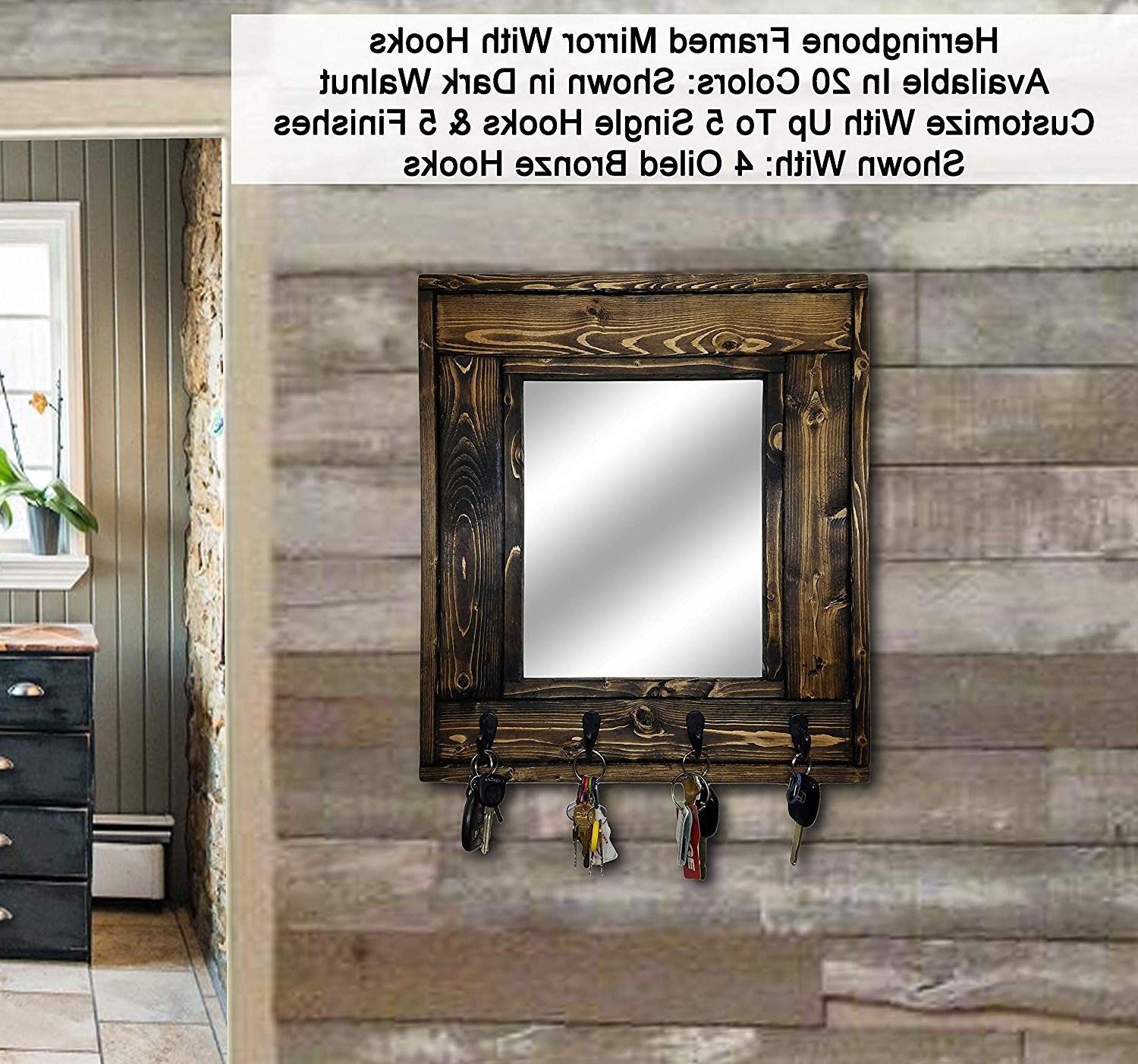 Wall Mirrors With Hooks With Most Recent Herringbone Mirror With Hooks – Customize With Up To 5 Single Hooks – Shown In Dark Walnut – Rustic Decor – Decorative Mirror – Hanging Hooks – Coat (View 13 of 20)