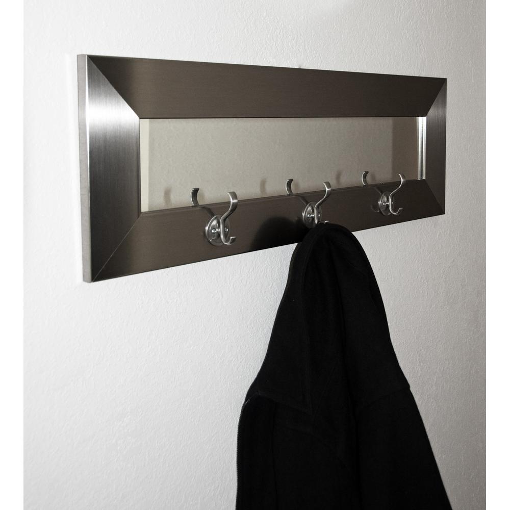 Wall Mirrors With Hooks With Regard To Newest Last Look Modern Silver Wall Mirror With Hooks (View 12 of 20)