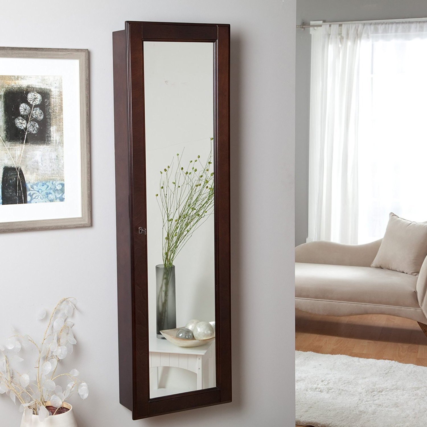 Wall Mirrors With Jewelry Storage Within Favorite Wall Mounted Jewelry Storage Long– Svc2baltics : Great Ideas (View 15 of 20)