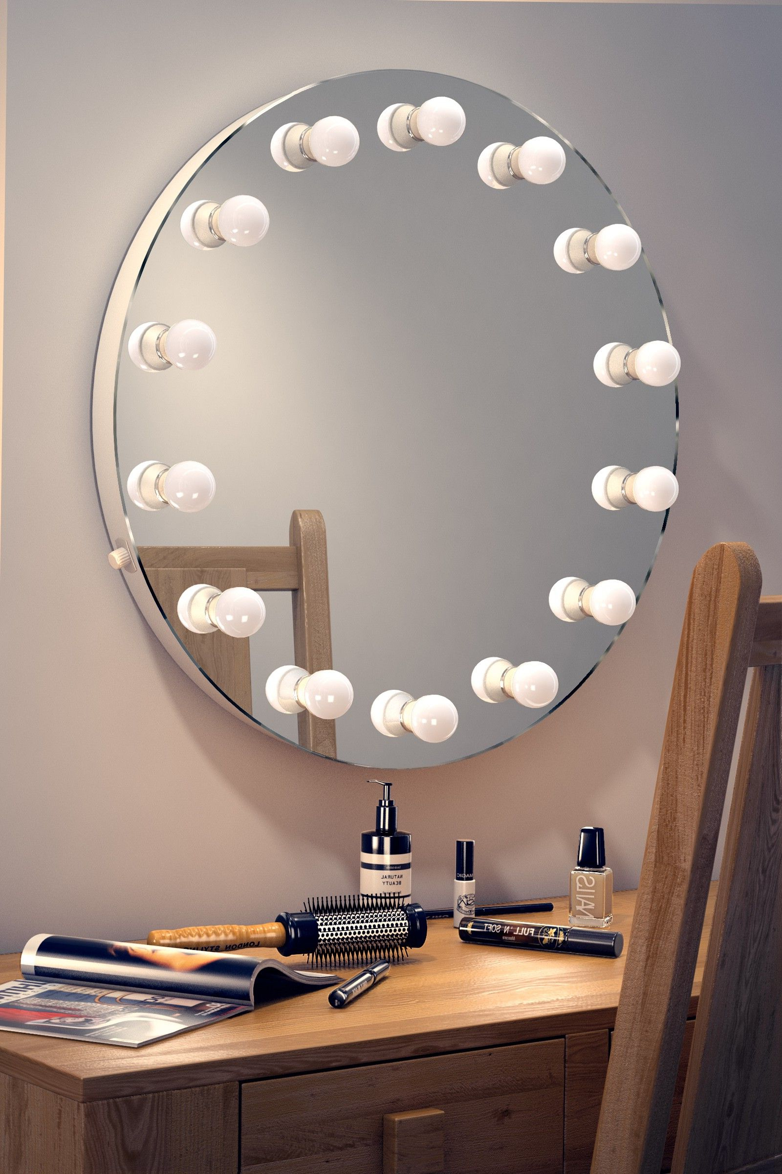 Wall Mirrors With Light Bulbs Throughout Recent Elizabeth Hollywood Mirror (round) (View 10 of 20)
