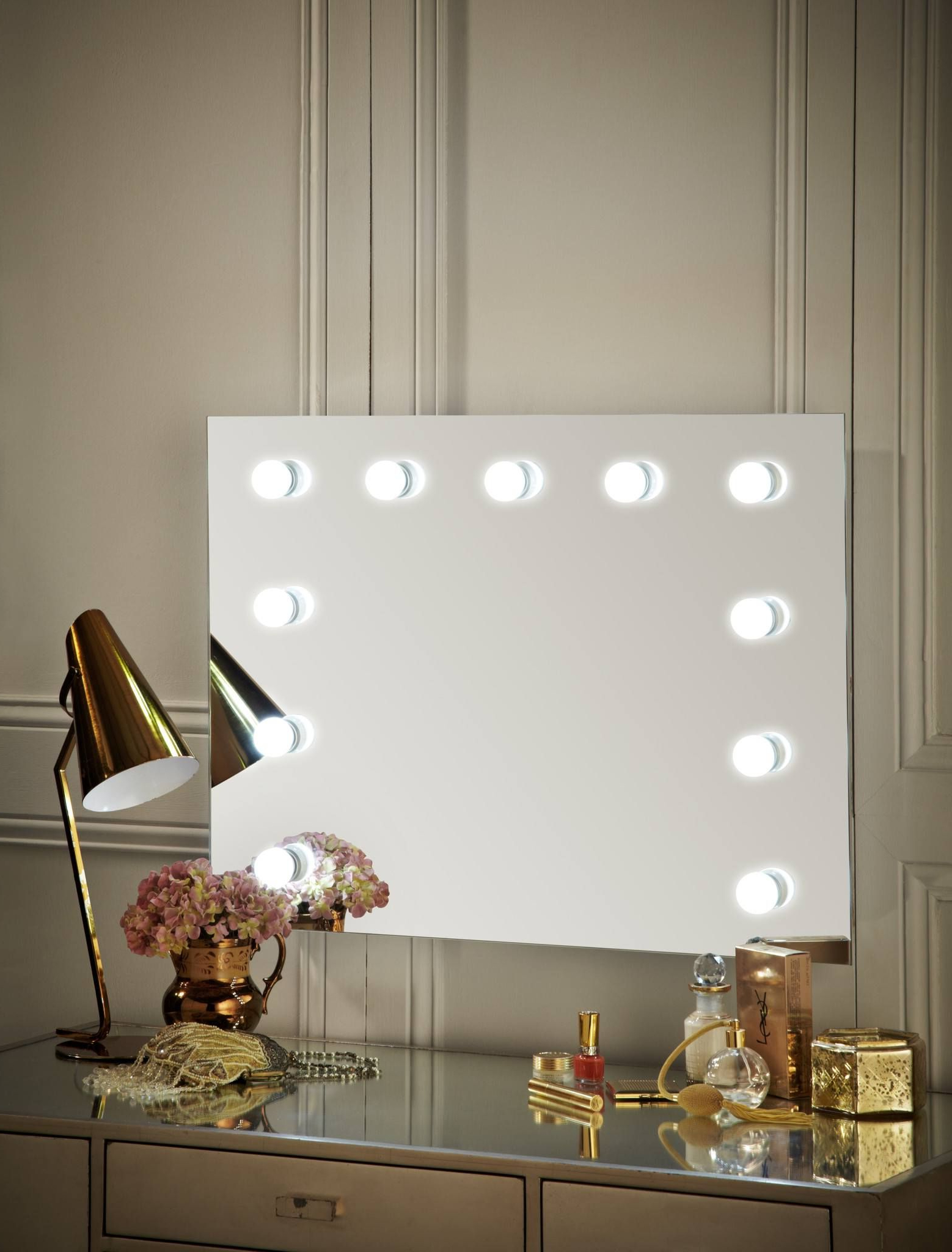 Wall Mirrors With Light Bulbs With Recent Penelope Hollywood Mirror Wall Mounted Landscape 60 X 80Cm (View 7 of 20)