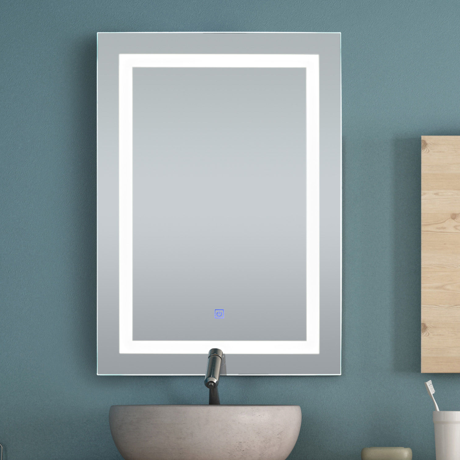 "Wall Mirrors With Light Throughout Fashionable Details About Homcom 32"" Led Bathroom Wall Mirrors With Illuminated Light Makeup Vanity Mirror (View 18 of 20)"