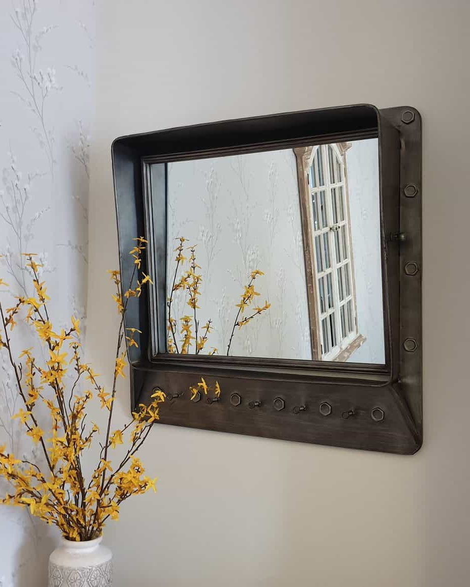 Wall Mirrors With Shelf And Hooks Inside Well Liked 70Cm Industrial Vintage Urban Chic Metal Wall Mirror With Shelf And Hooks (View 4 of 20)