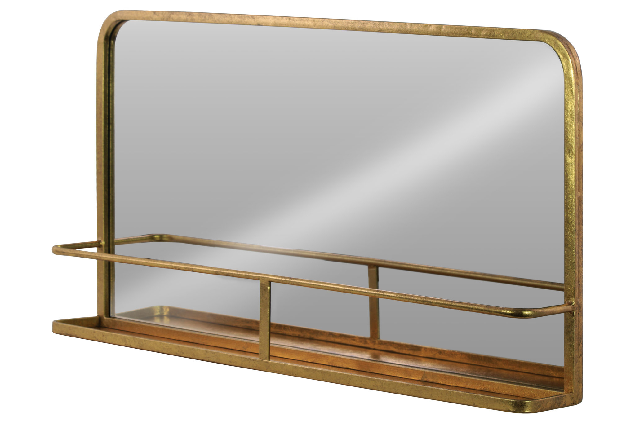 Wall Mirrors With Shelf Inside Newest Dalston Rectangle Metal Wall Mirror With Shelf (View 9 of 20)