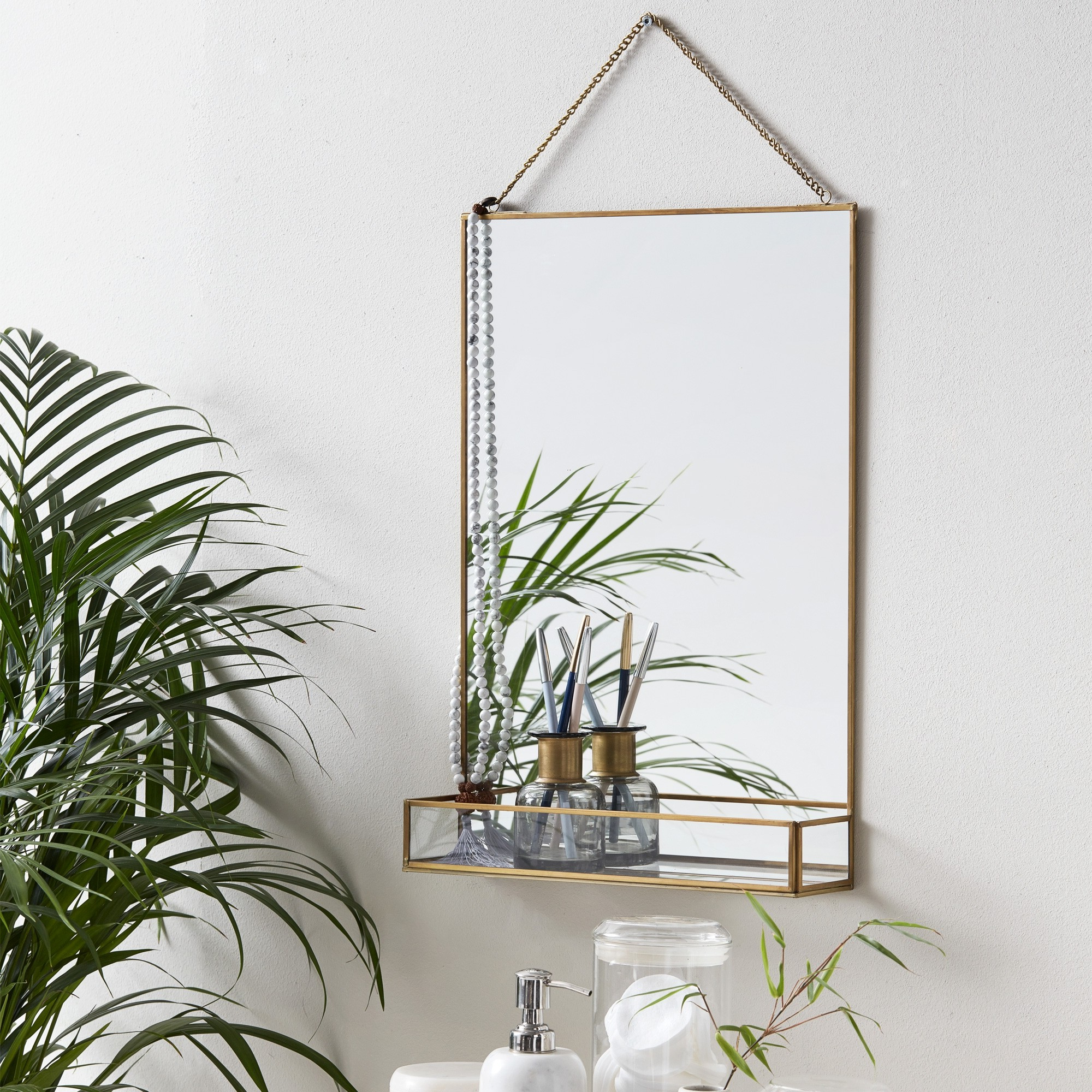 Wall Mirrors With Shelf Within Widely Used Chain Hanging Wall Mirror With Shelf (View 12 of 20)