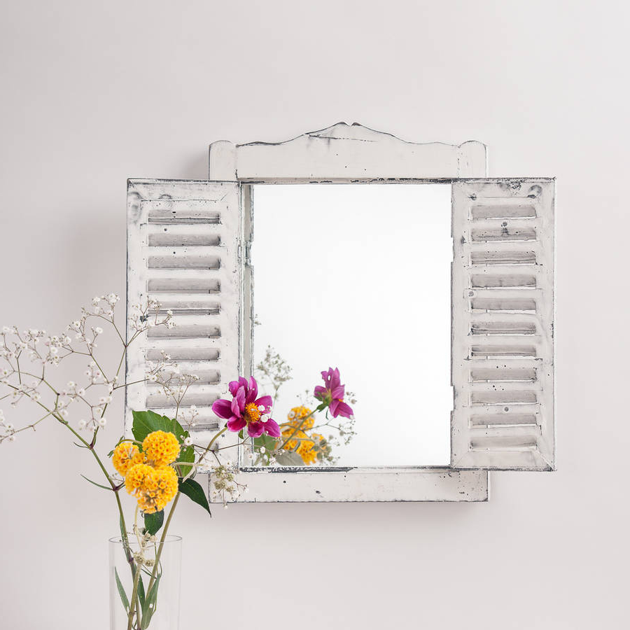 Wall Mirrors With Shutters Pertaining To 2019 Outdoor Wooden Shutter Mirror (View 8 of 20)