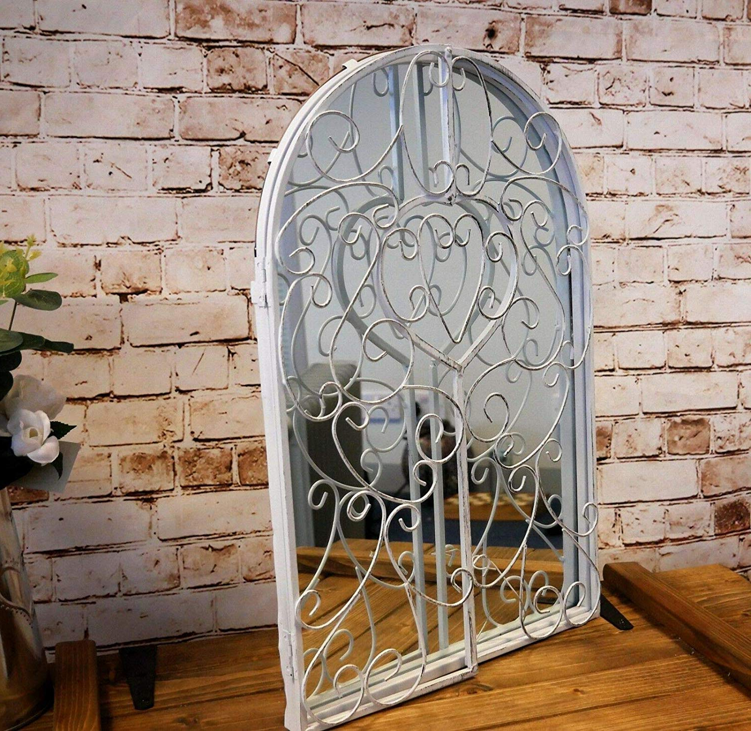 Wall Mirrors With Shutters Throughout Preferred Homezone® Large Metal Vintage Garden Mirror Retro Shabby Chic Style White  Metal Window Shutter Style Bathroom Wall Mirrors Wall Mountable Home Decor (View 12 of 20)