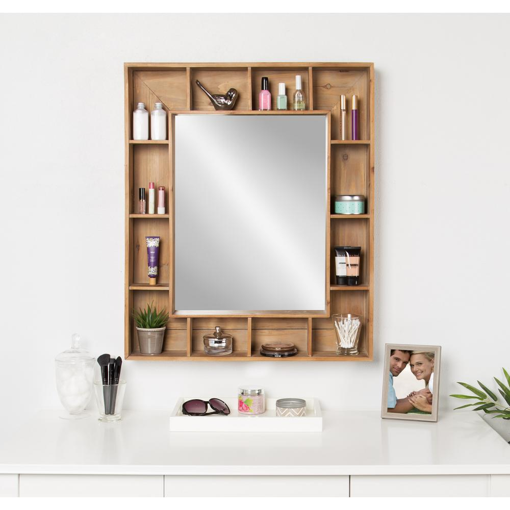 Wall Mirrors With Storages With Widely Used Kate And Laurel Kieren Rustic Wood Cubby Framed Wall Storage Mirror (View 2 of 20)